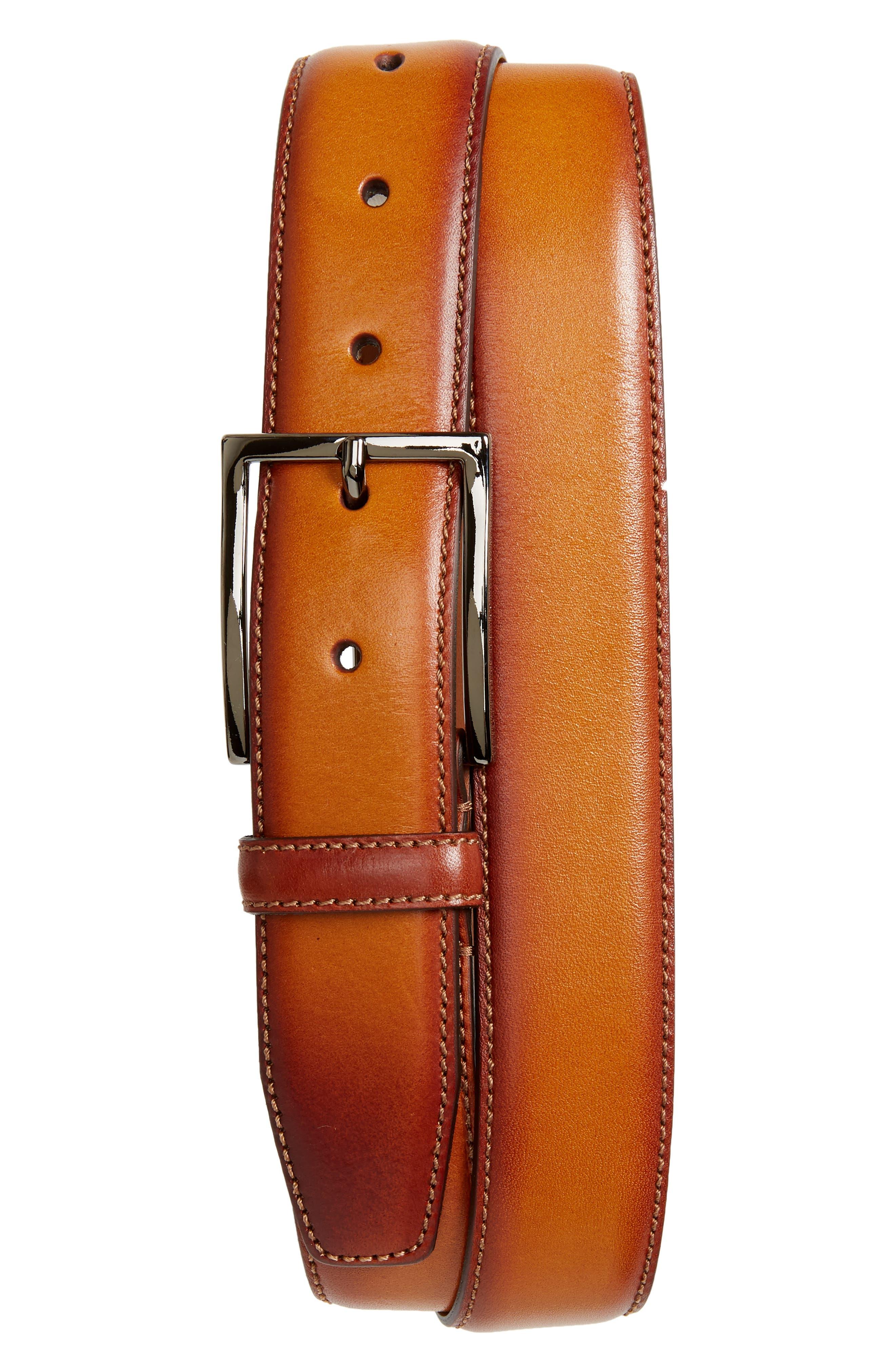 Marco Burnished Leather Belt,                             Main thumbnail 1, color,                             Cognac