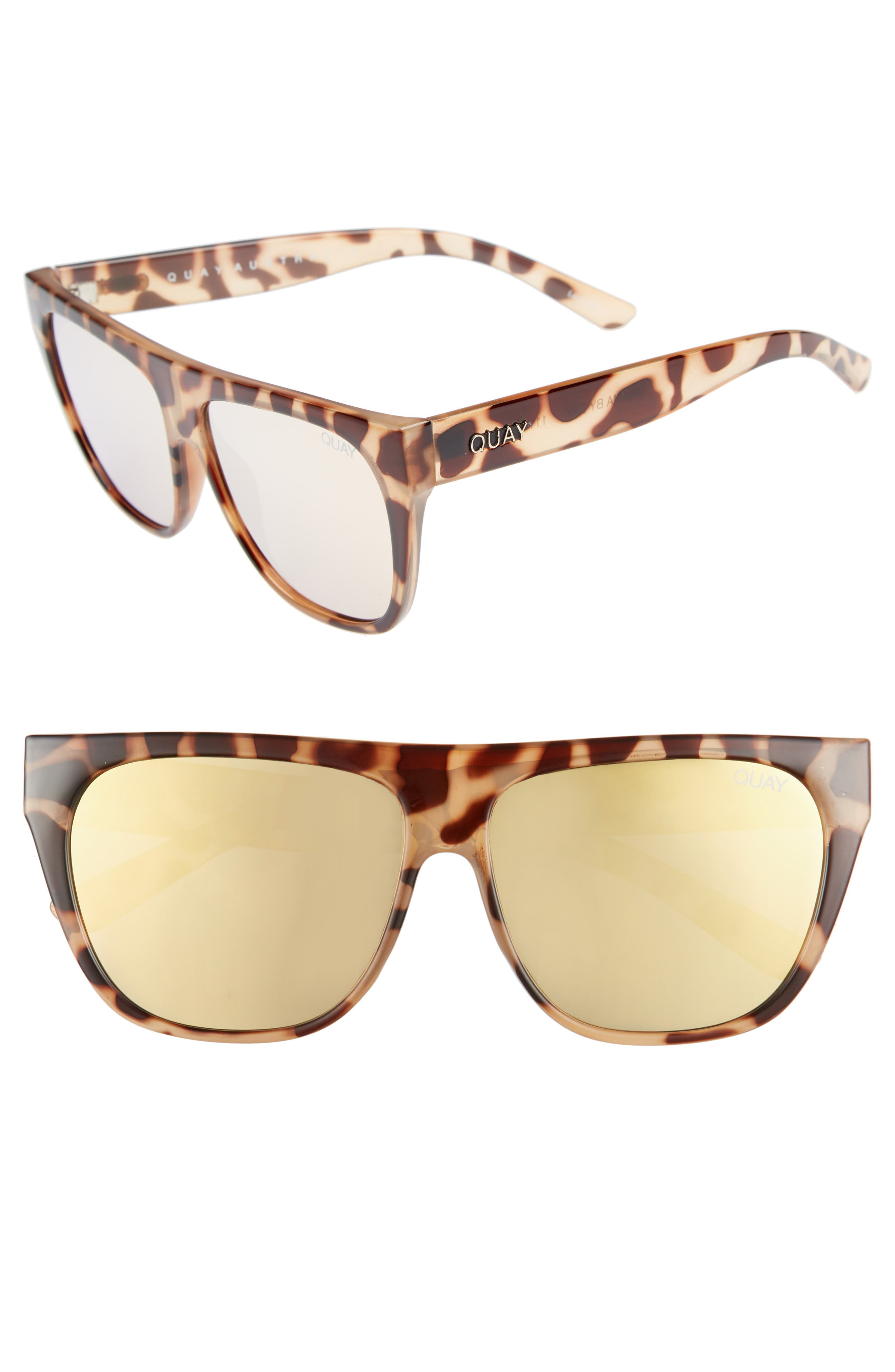 x Tony Bianco Drama by Day 55mm Square Sunglasses,                             Main thumbnail 1, color,                             Tort/ Gold