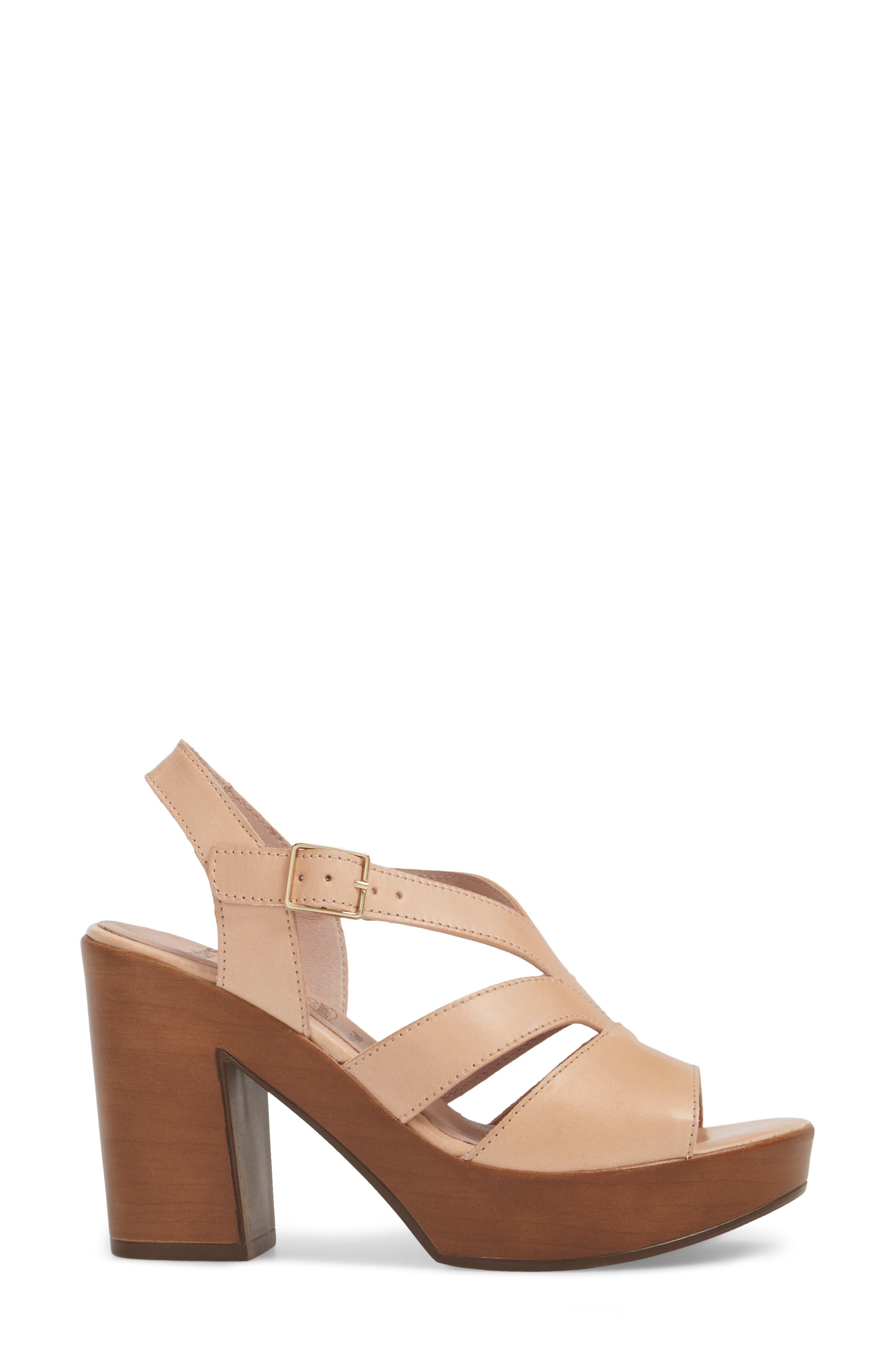 V-Strap Platform Sandal,                             Alternate thumbnail 3, color,                             Palo Leather