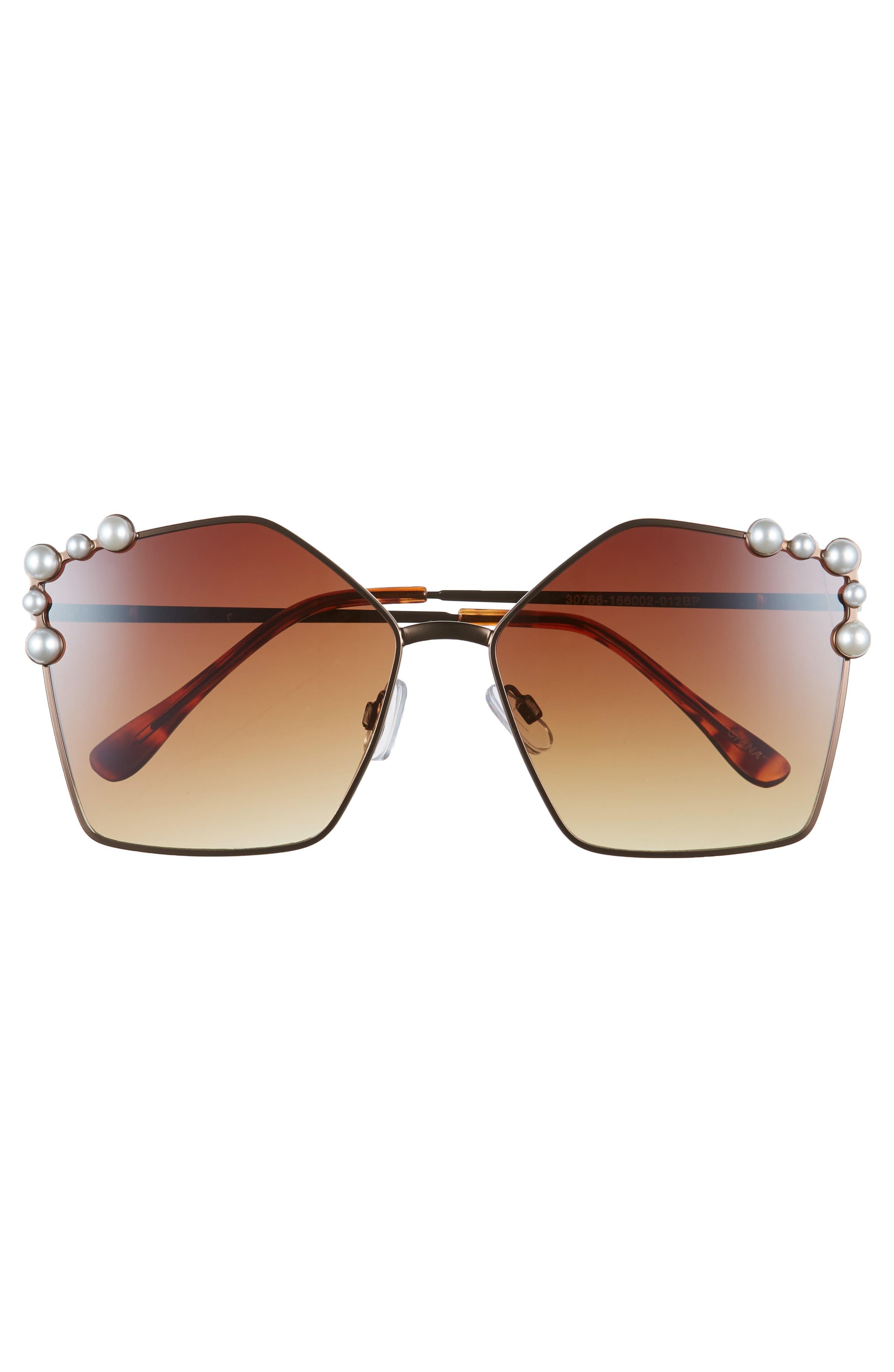 60mm Imitation Pearl Geometric Sunglasses,                             Alternate thumbnail 3, color,                             Brown/ Brown