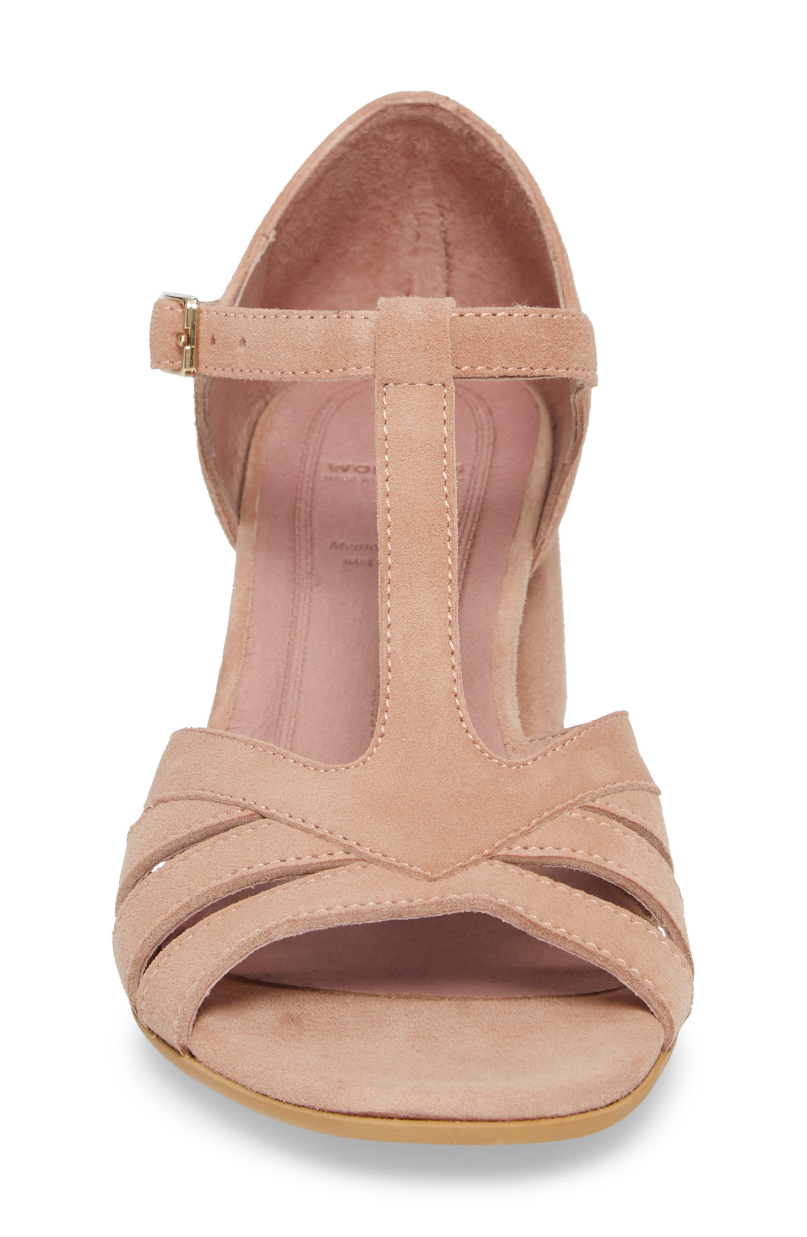 Block Heel Sandal,                             Alternate thumbnail 4, color,                             Nude Suede