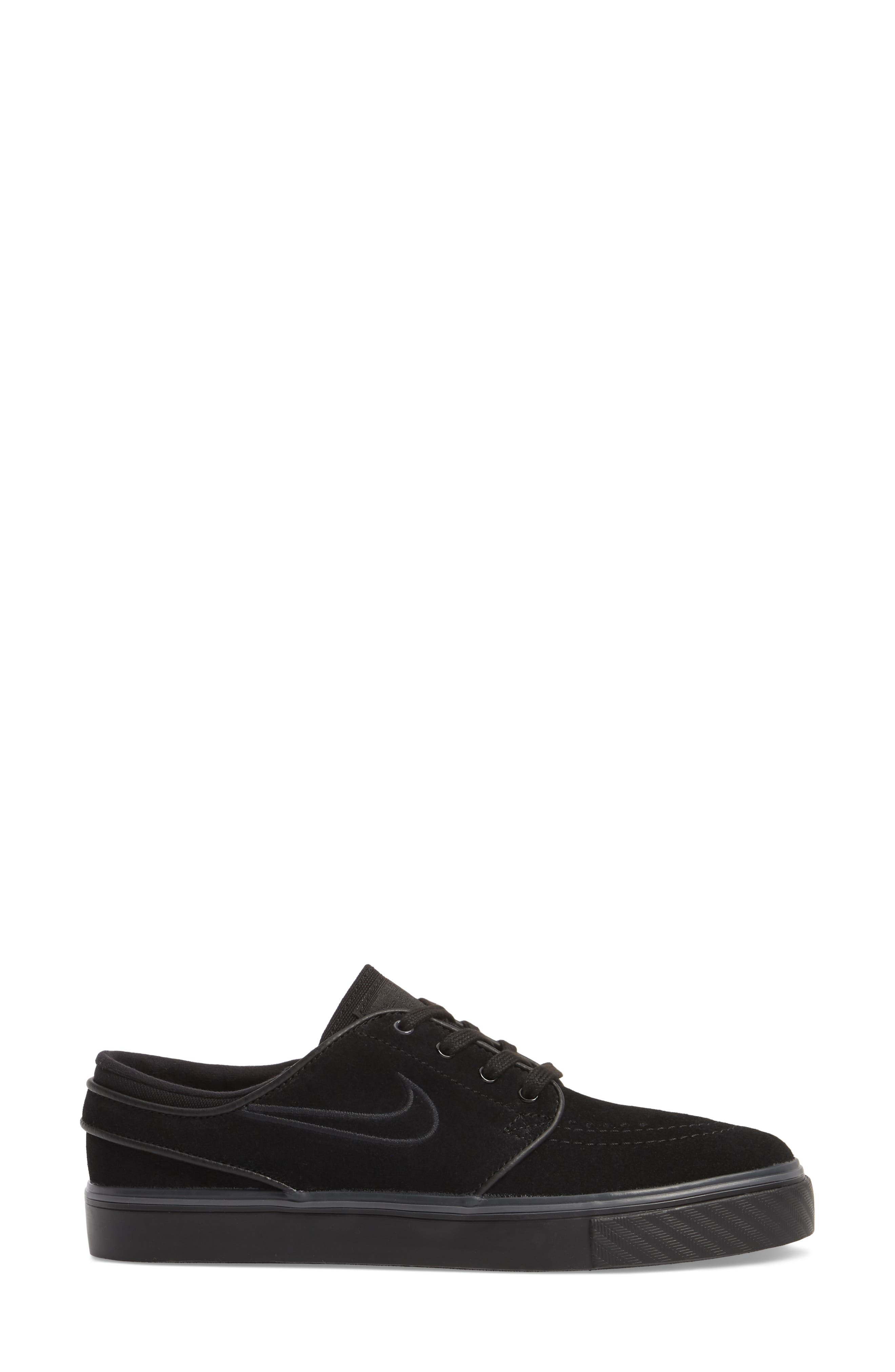 SB Air Zoom Stefan Janoski Skate Sneaker,                             Alternate thumbnail 3, color,                             Black/ Black/ Black
