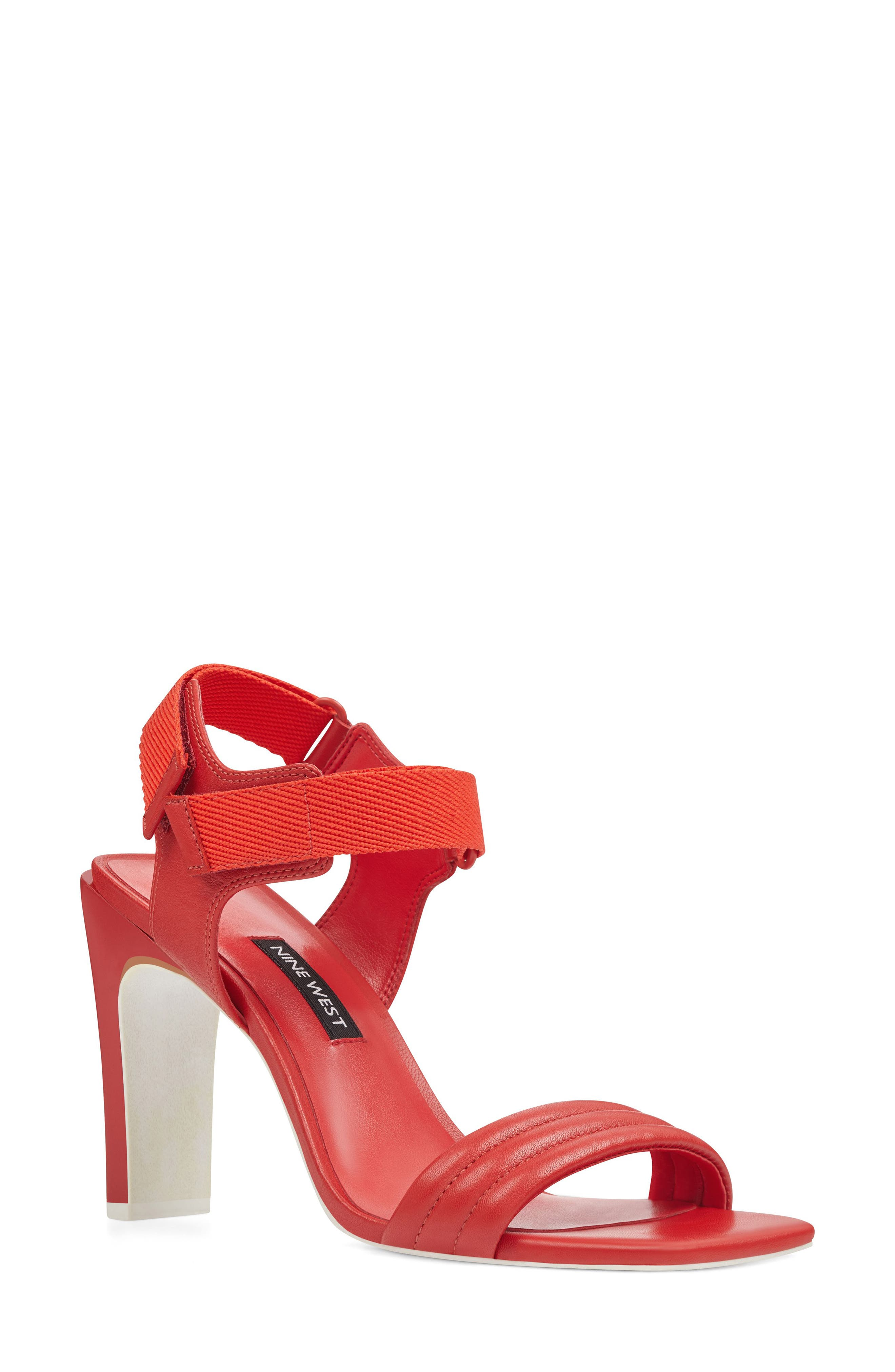 Zebree Sandal,                         Main,                         color, Red Leather