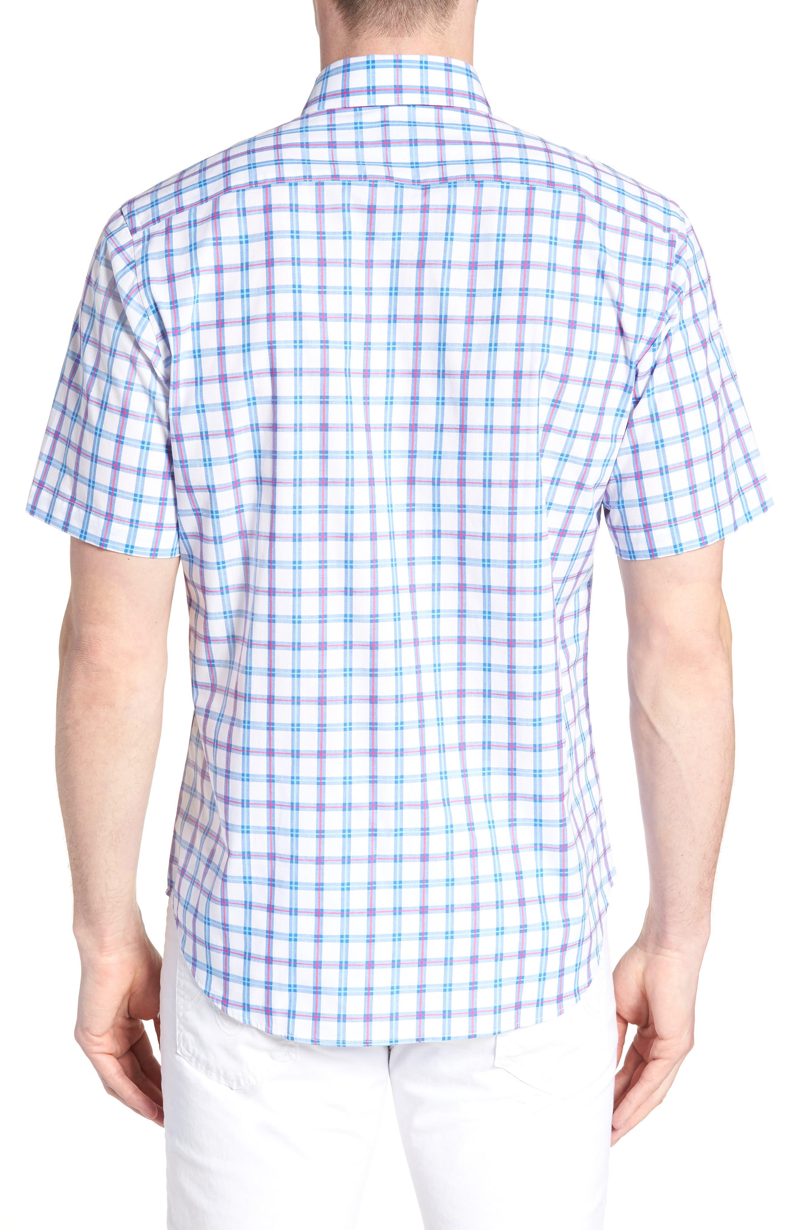 Arman Regular Fit Windowpane Sport Shirt,                             Alternate thumbnail 3, color,                             Light Blue