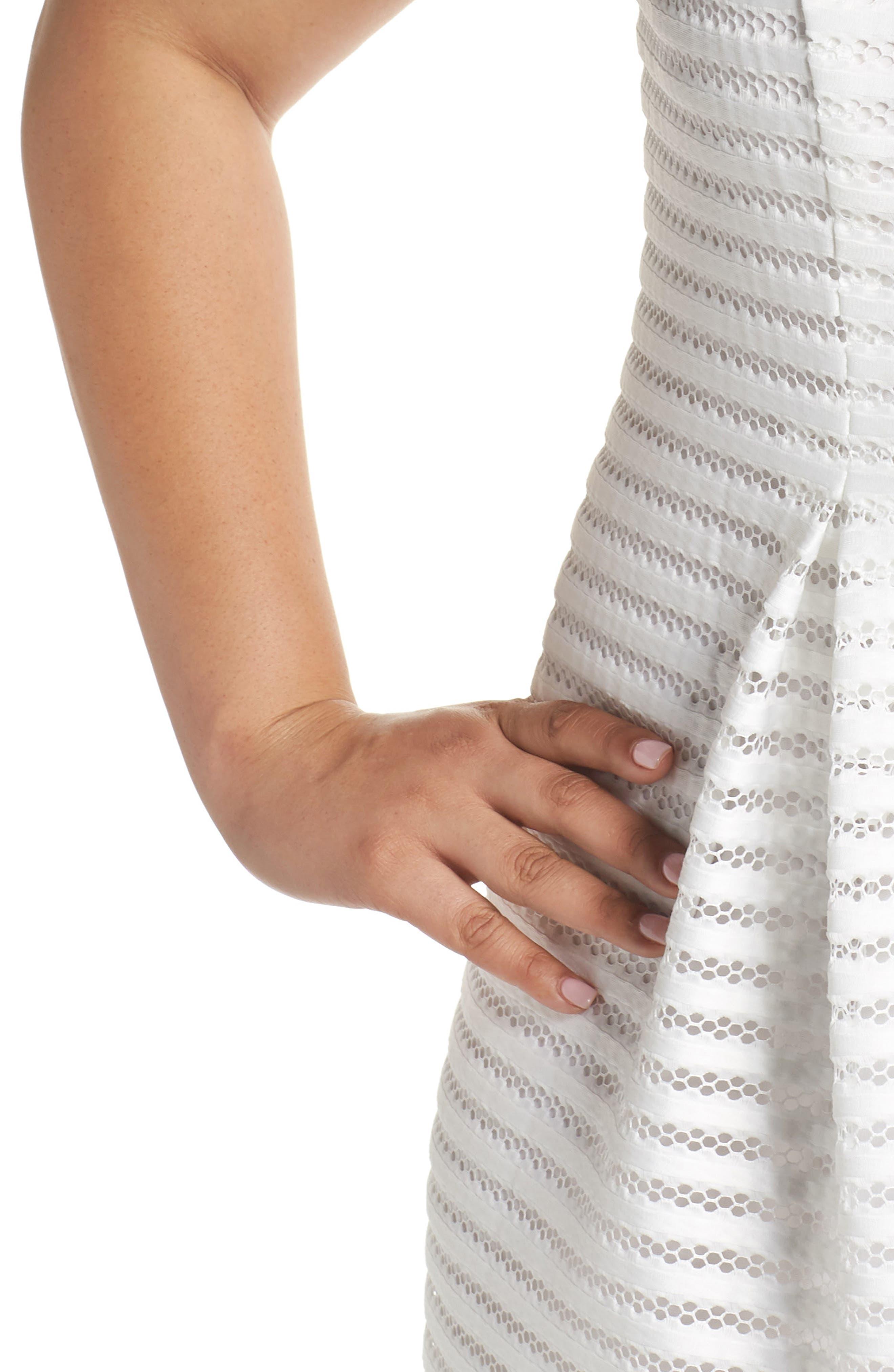Mesh Stripe Pleated A-Line Dress,                             Alternate thumbnail 4, color,                             Ivory