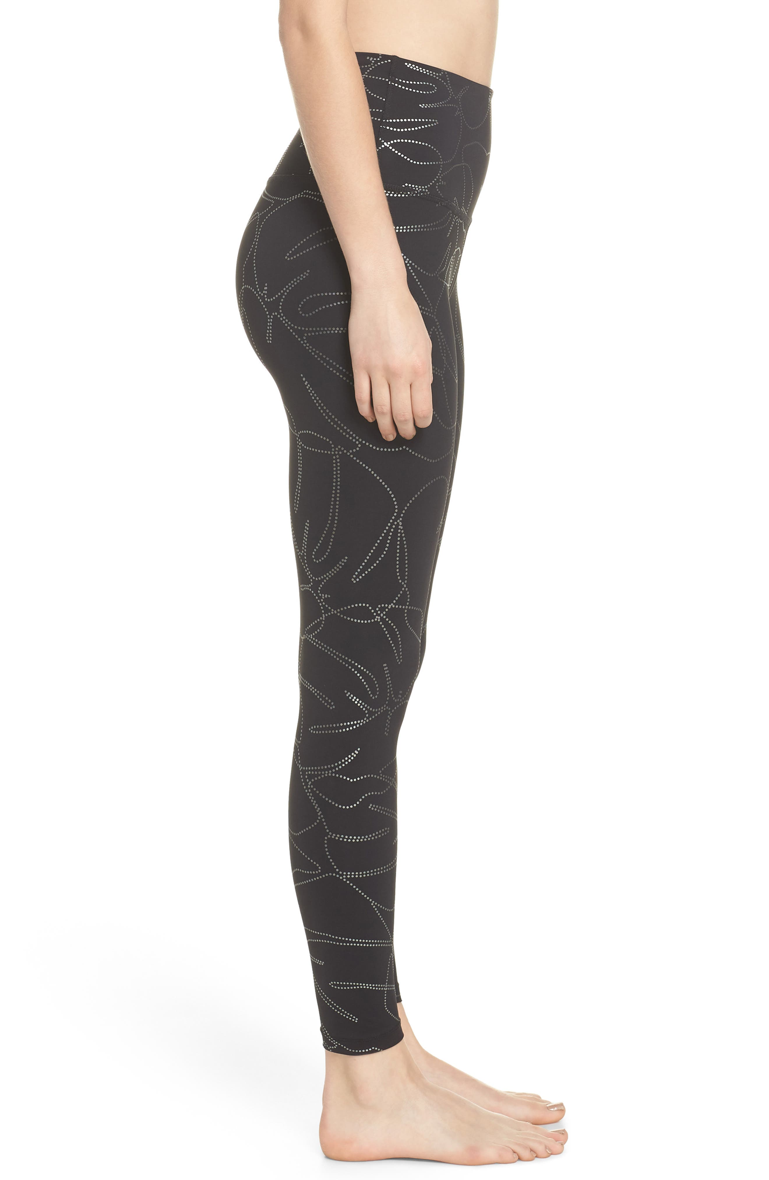 Flashback High Waist Midi Leggings,                             Alternate thumbnail 3, color,                             Monstera Leaf Silver-Black