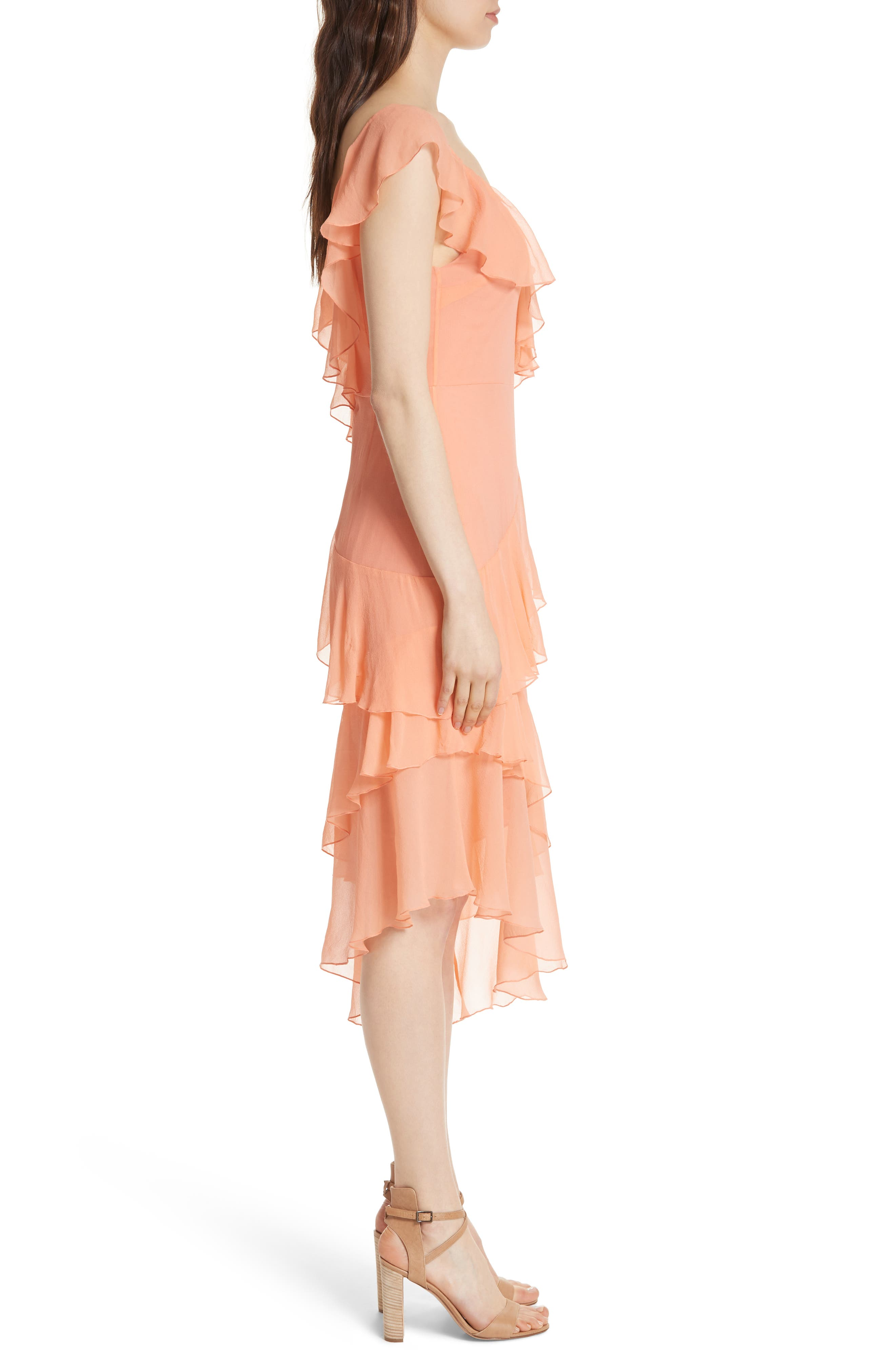 Olympia Asymmetrical Silk Chiffon Dress,                             Alternate thumbnail 3, color,                             Peach