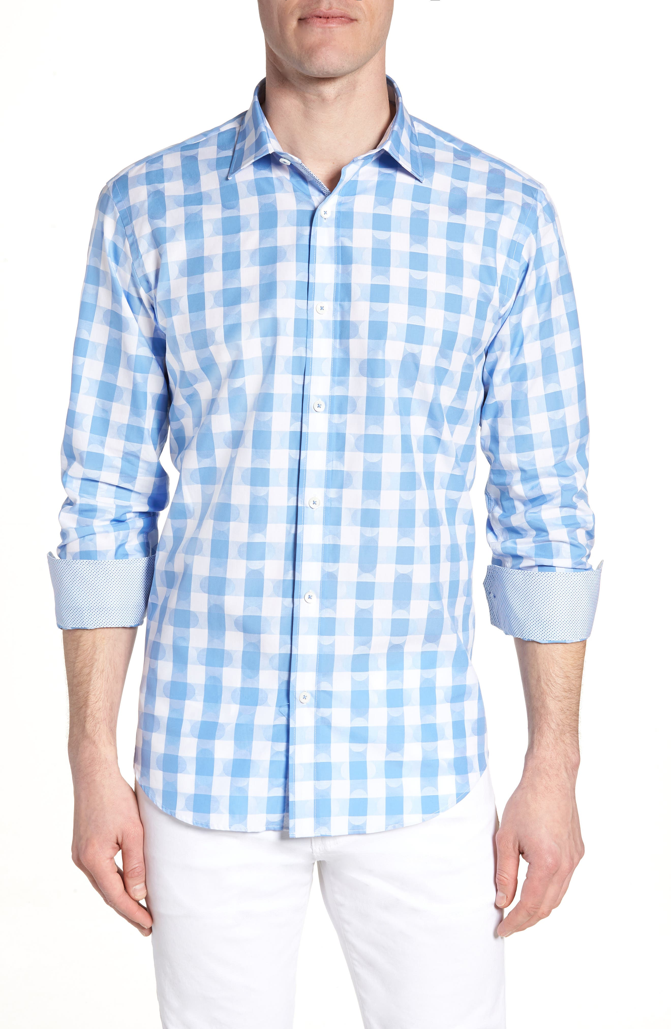 Shaped Fit Jacquard Gingham Sport Shirt,                             Main thumbnail 1, color,                             Classic Blue