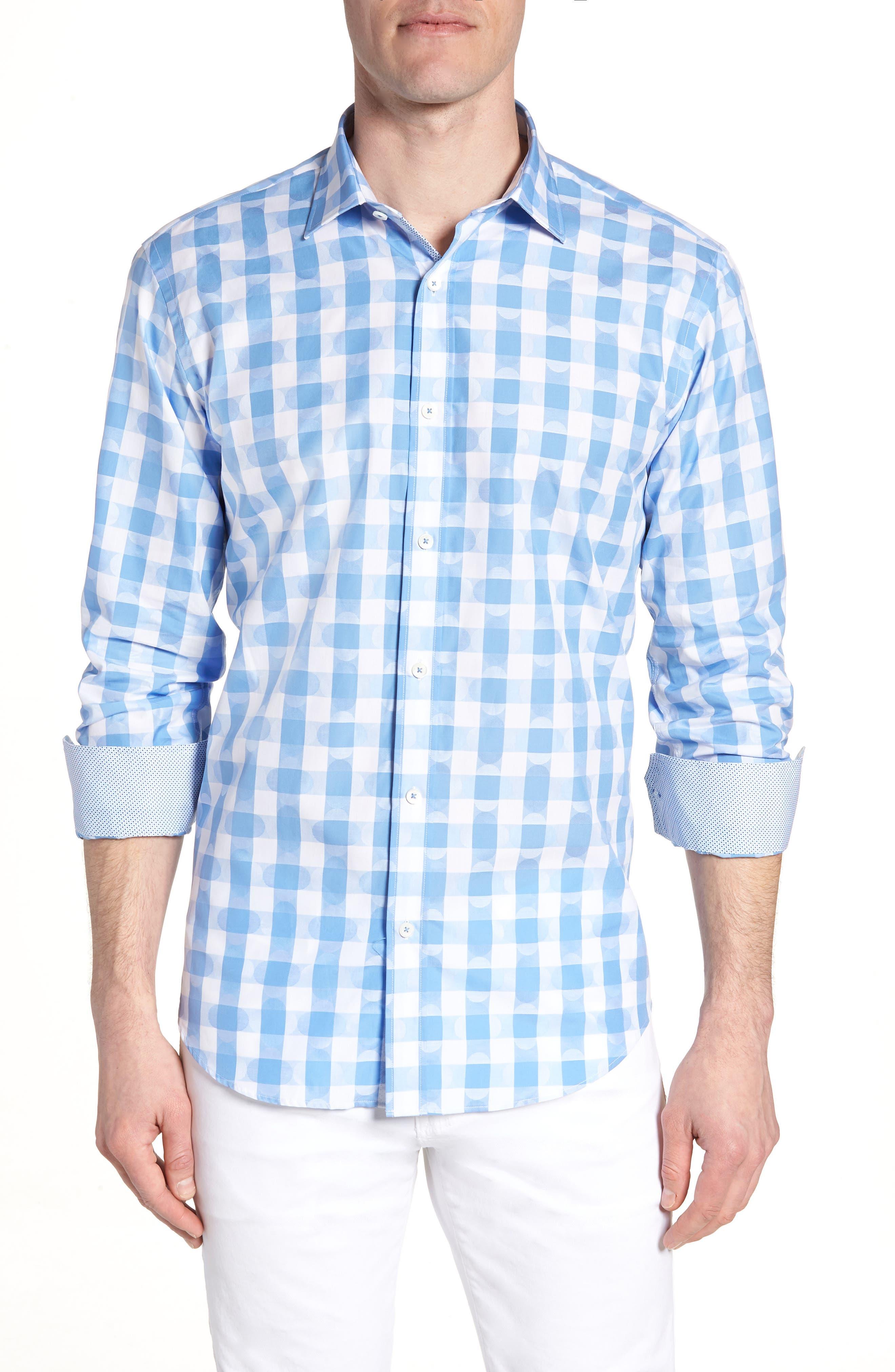 Shaped Fit Jacquard Gingham Sport Shirt,                         Main,                         color, Classic Blue