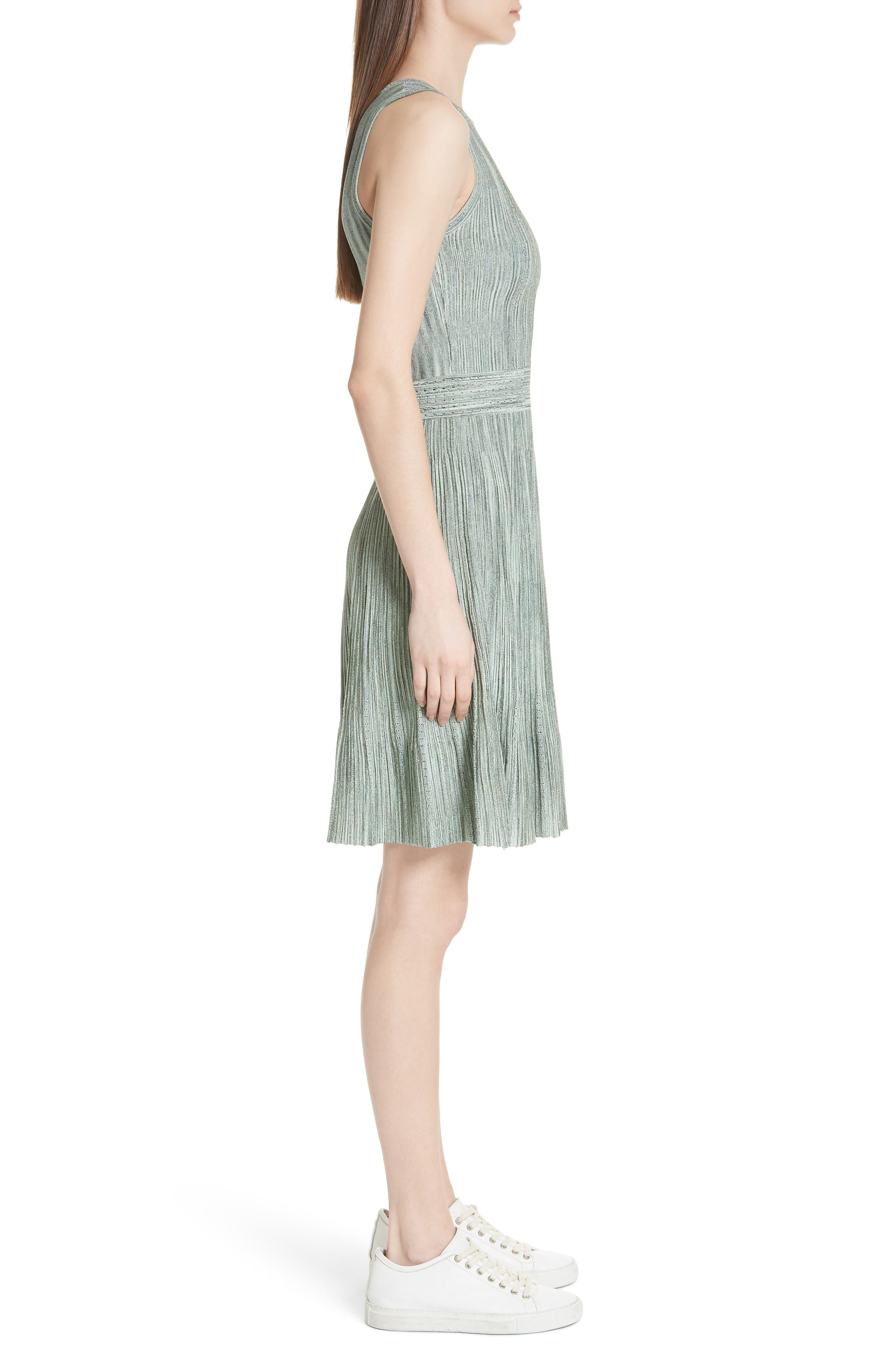 Stretch Knit Fit & Flare Dress,                             Alternate thumbnail 3, color,                             Green