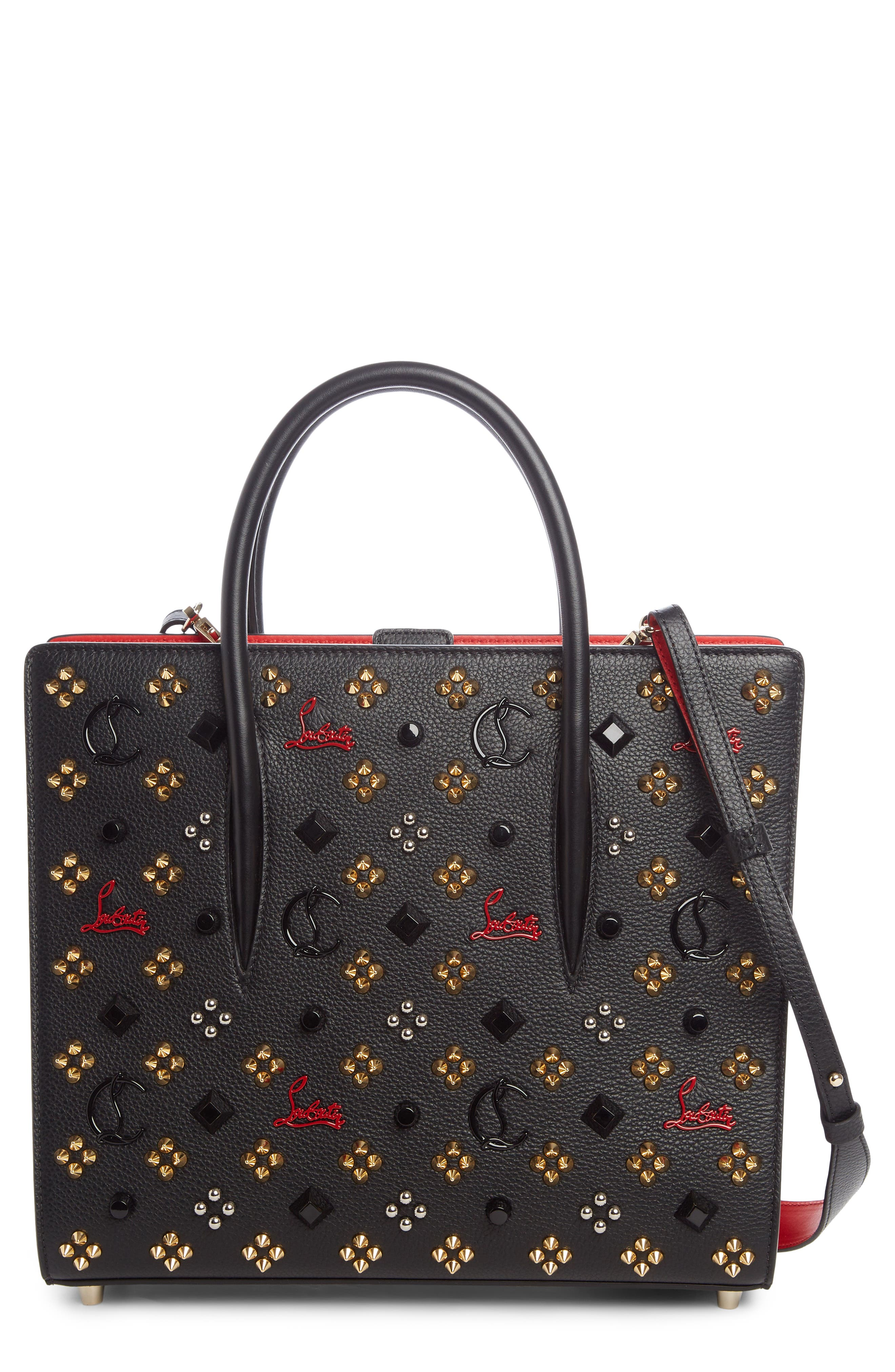 Medium Paloma Leather Tote,                         Main,                         color, Black/ Red-Gold