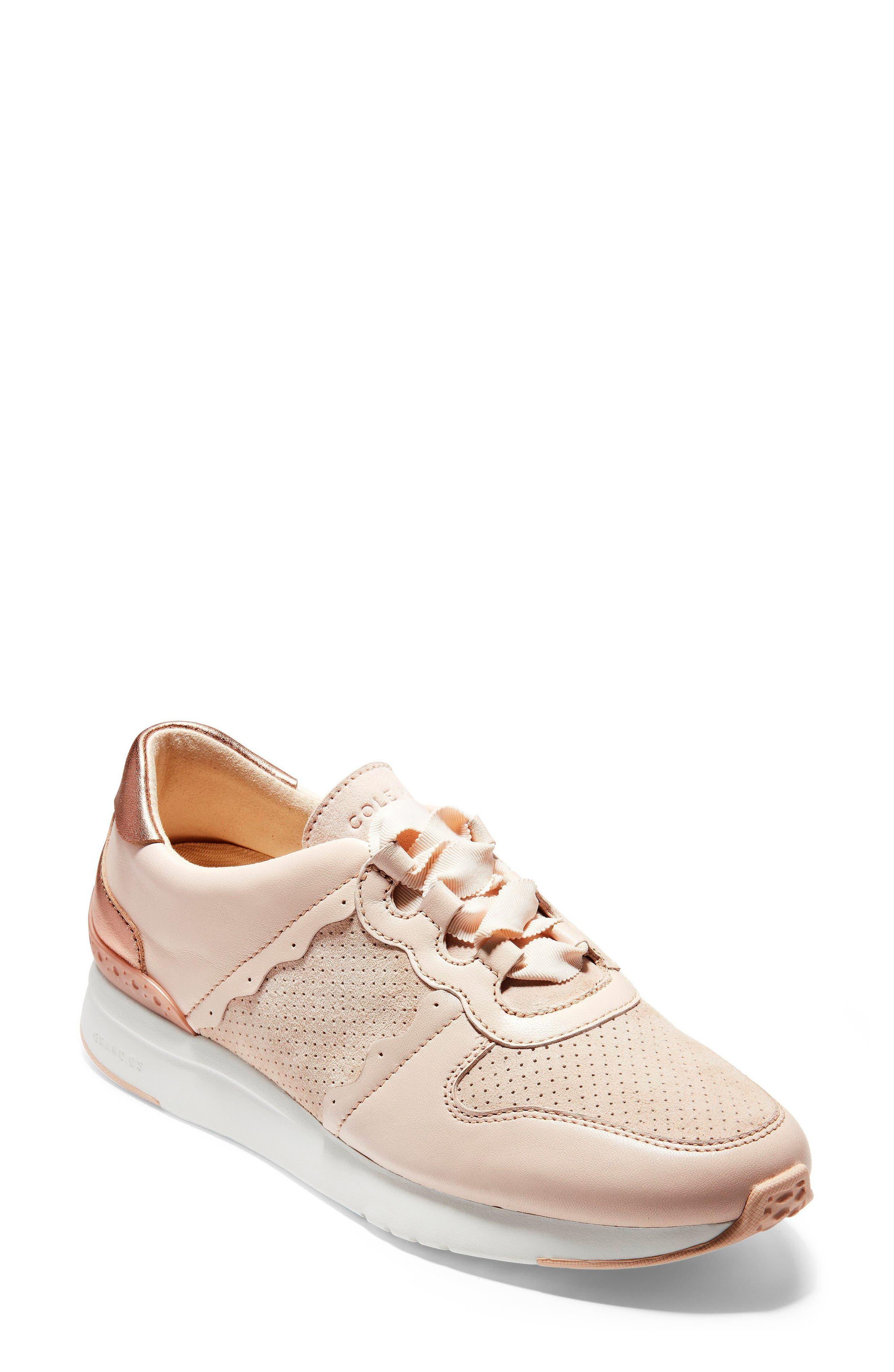 GrandPro Wedge Sneaker,                             Main thumbnail 1, color,                             Peach Blush Suede