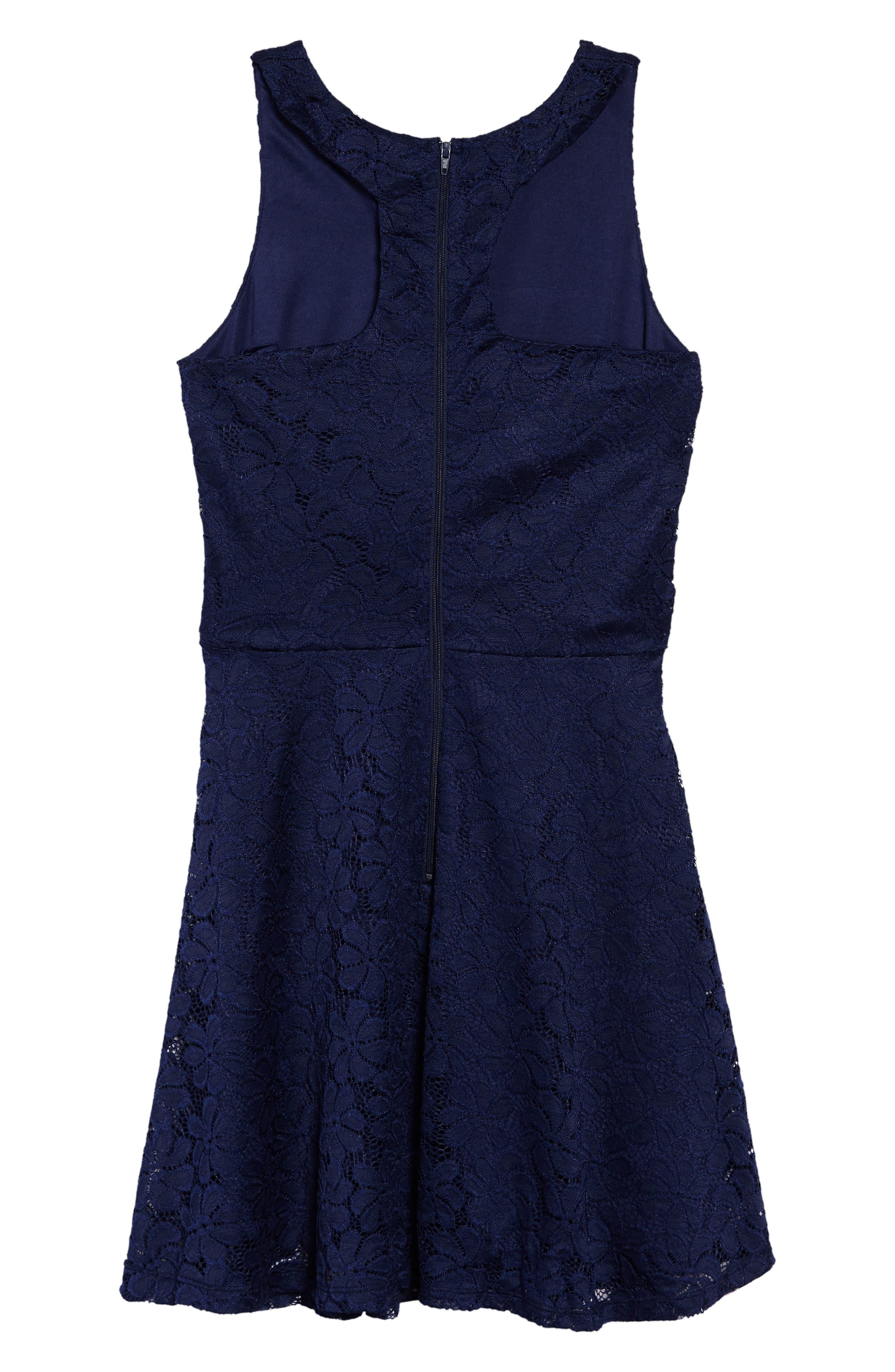 Betty Racerback Lace Dress,                             Alternate thumbnail 2, color,                             Navy