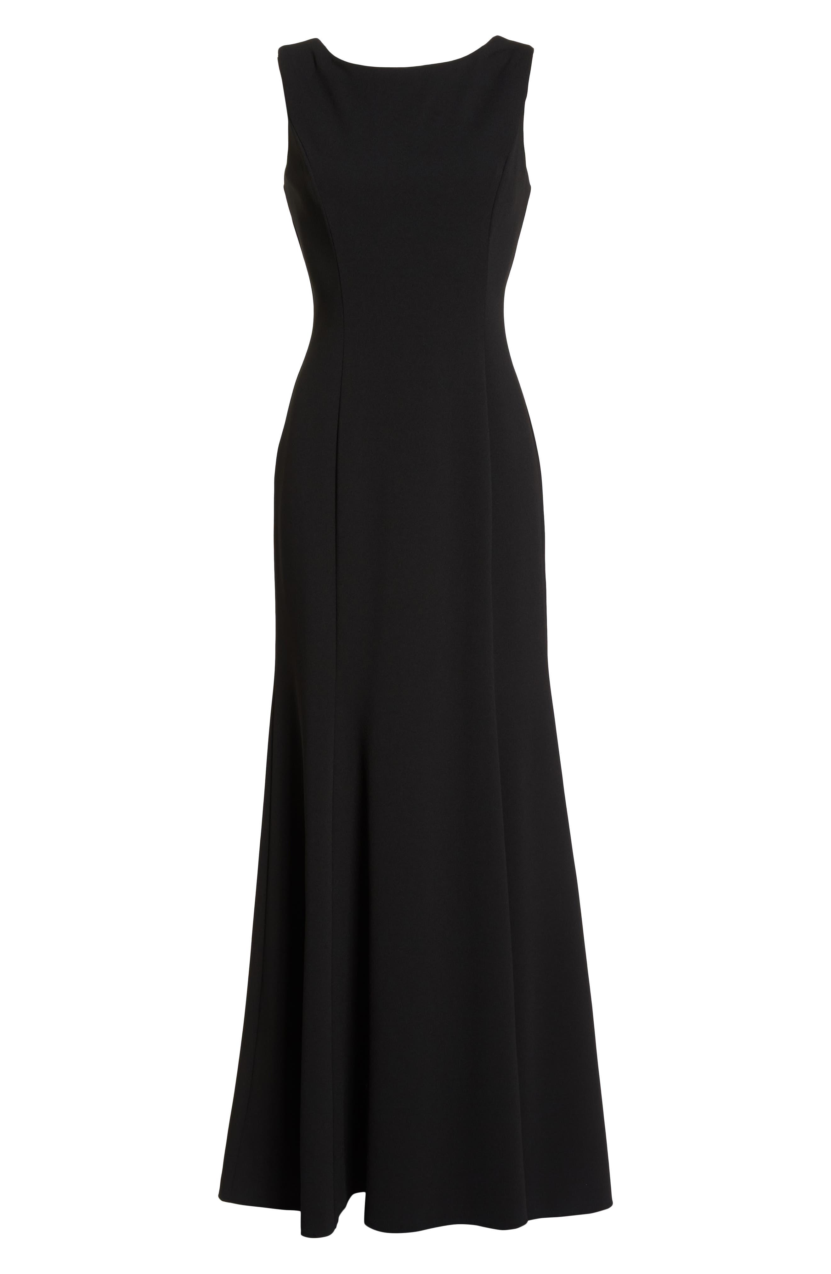 Ruffle Back Scuba Crepe Gown,                             Alternate thumbnail 7, color,                             Black