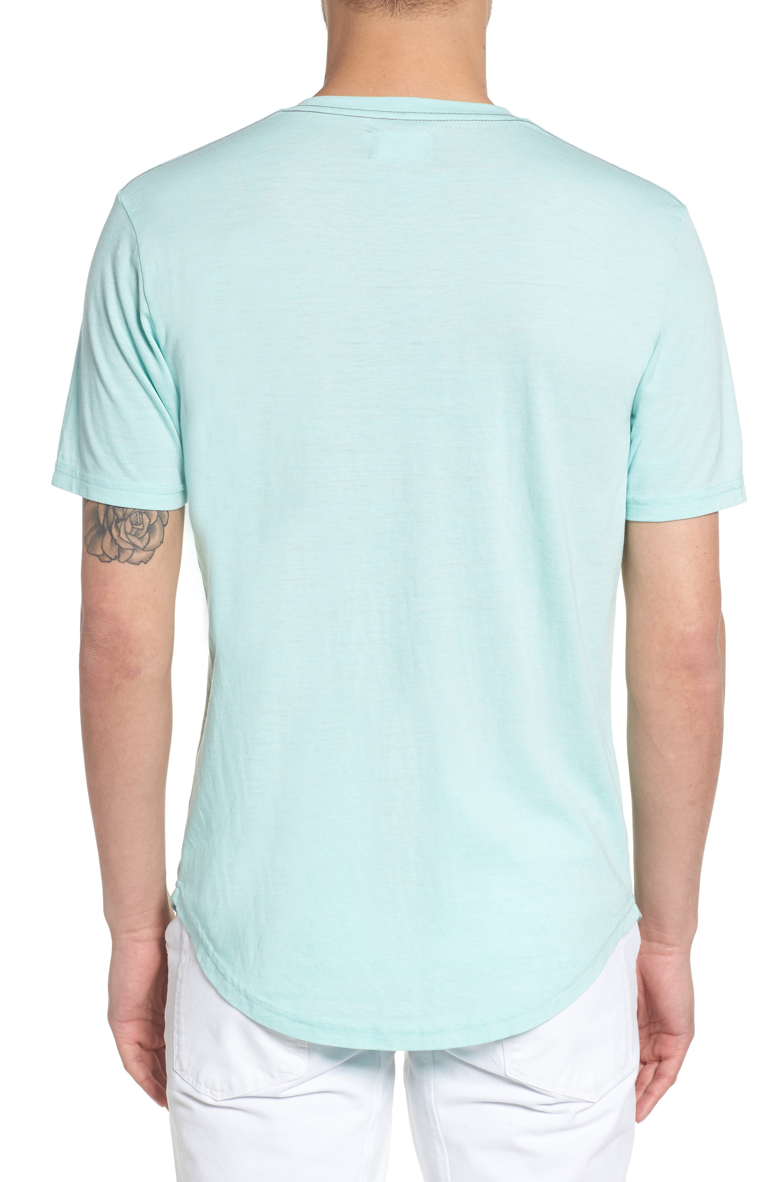 Scallop Triblend V-Neck T-Shirt,                             Alternate thumbnail 2, color,                             Aqua Sky