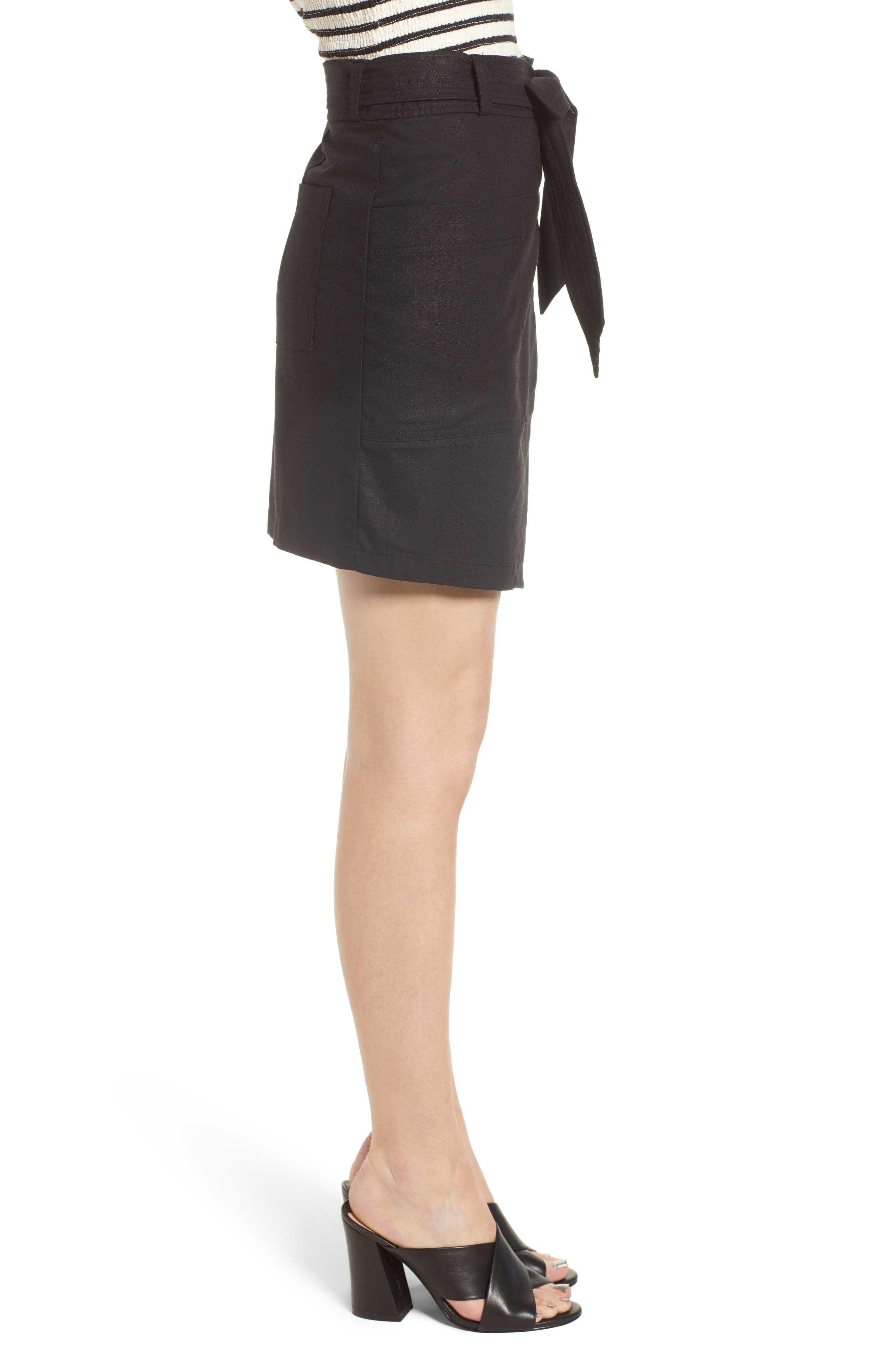 Bishop + Young Tie Front Wrap Style Skirt,                             Alternate thumbnail 3, color,                             Black
