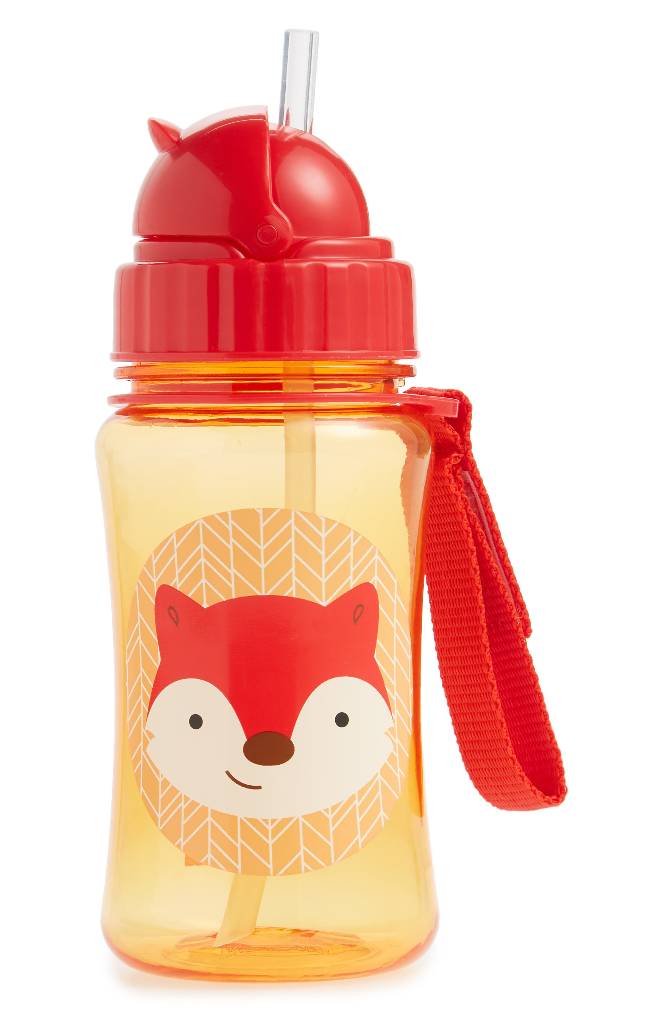 Zoo Straw Bottle,                         Main,                         color, Red Fox