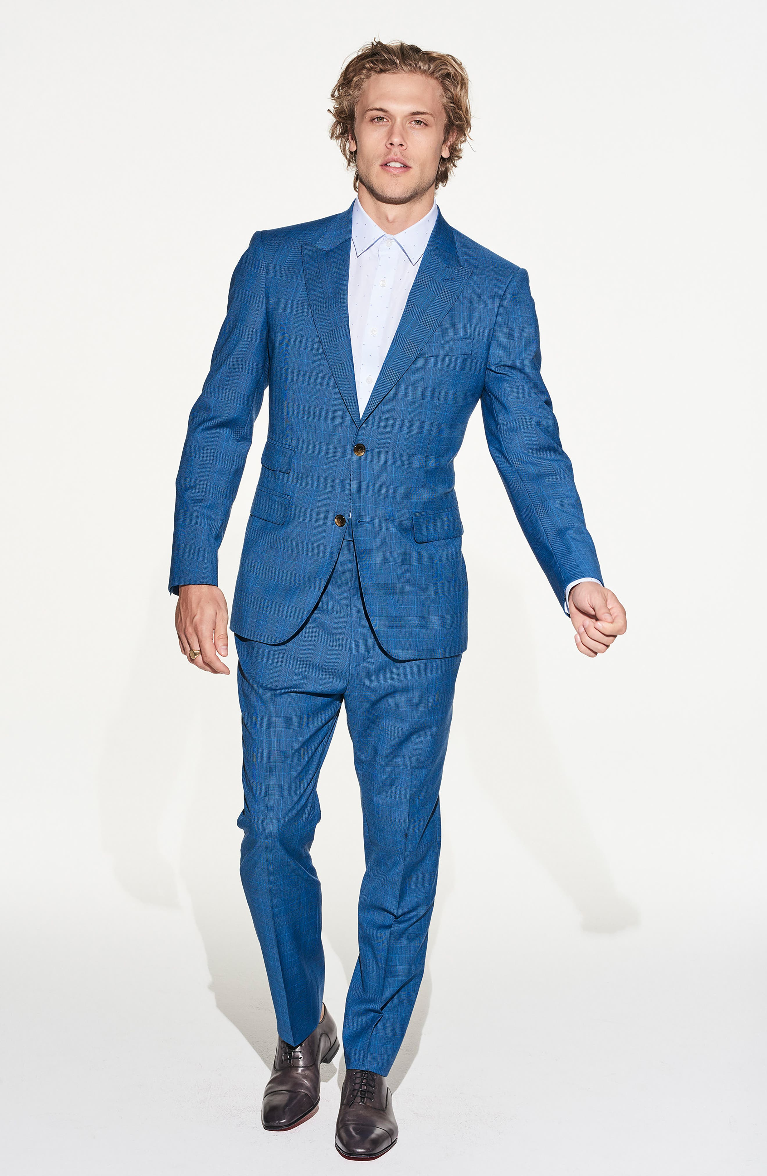 by Ilaria Urbinati Zooey Slim Fit Plaid Wool Suit,                             Alternate thumbnail 2, color,                             French Blue Glen Plaid