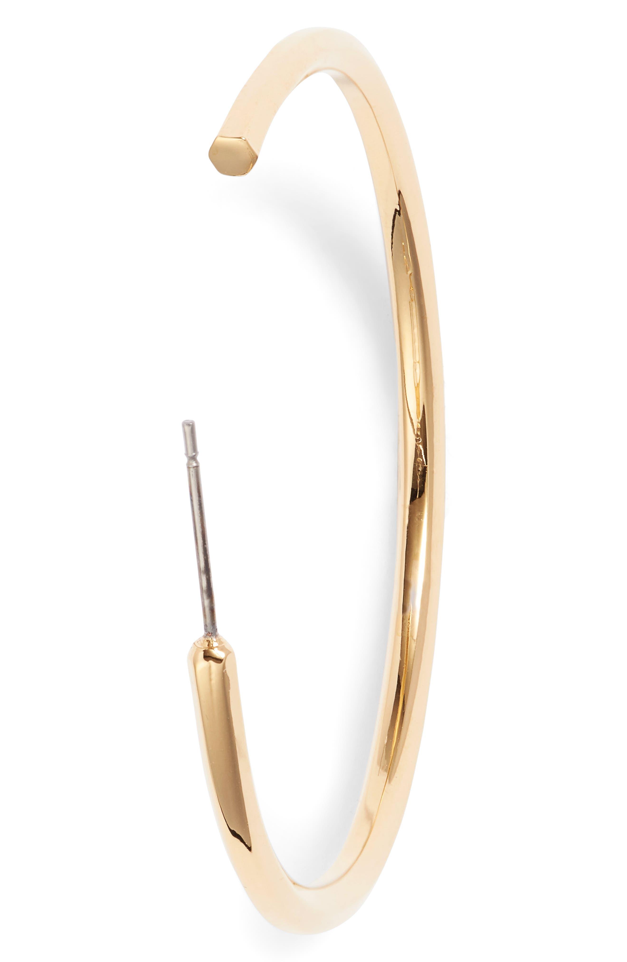 Hexagon Shaped Hoop Earrings,                         Main,                         color, Gold