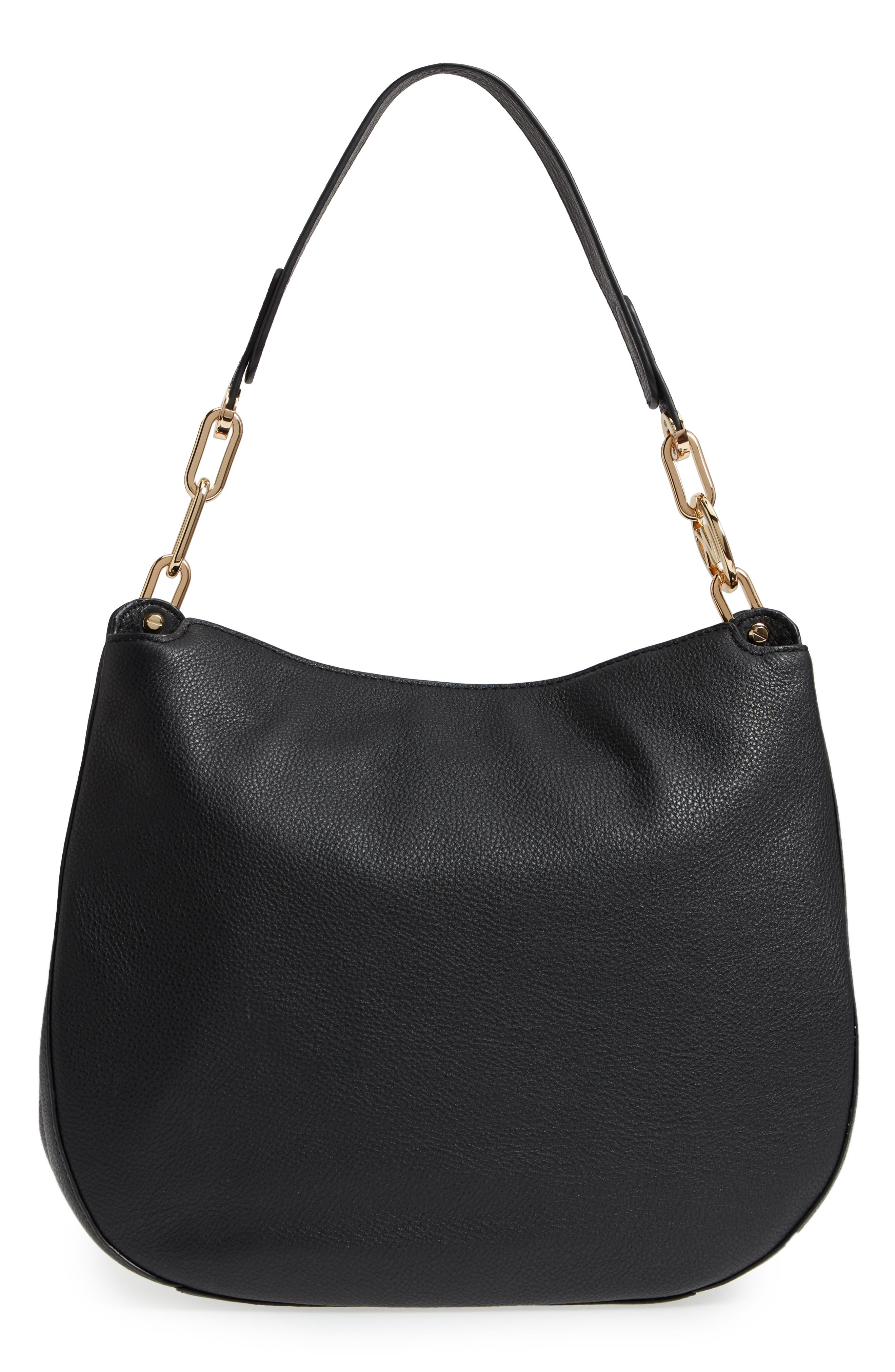 Fulton Leather Hobo,                             Alternate thumbnail 3, color,                             Black