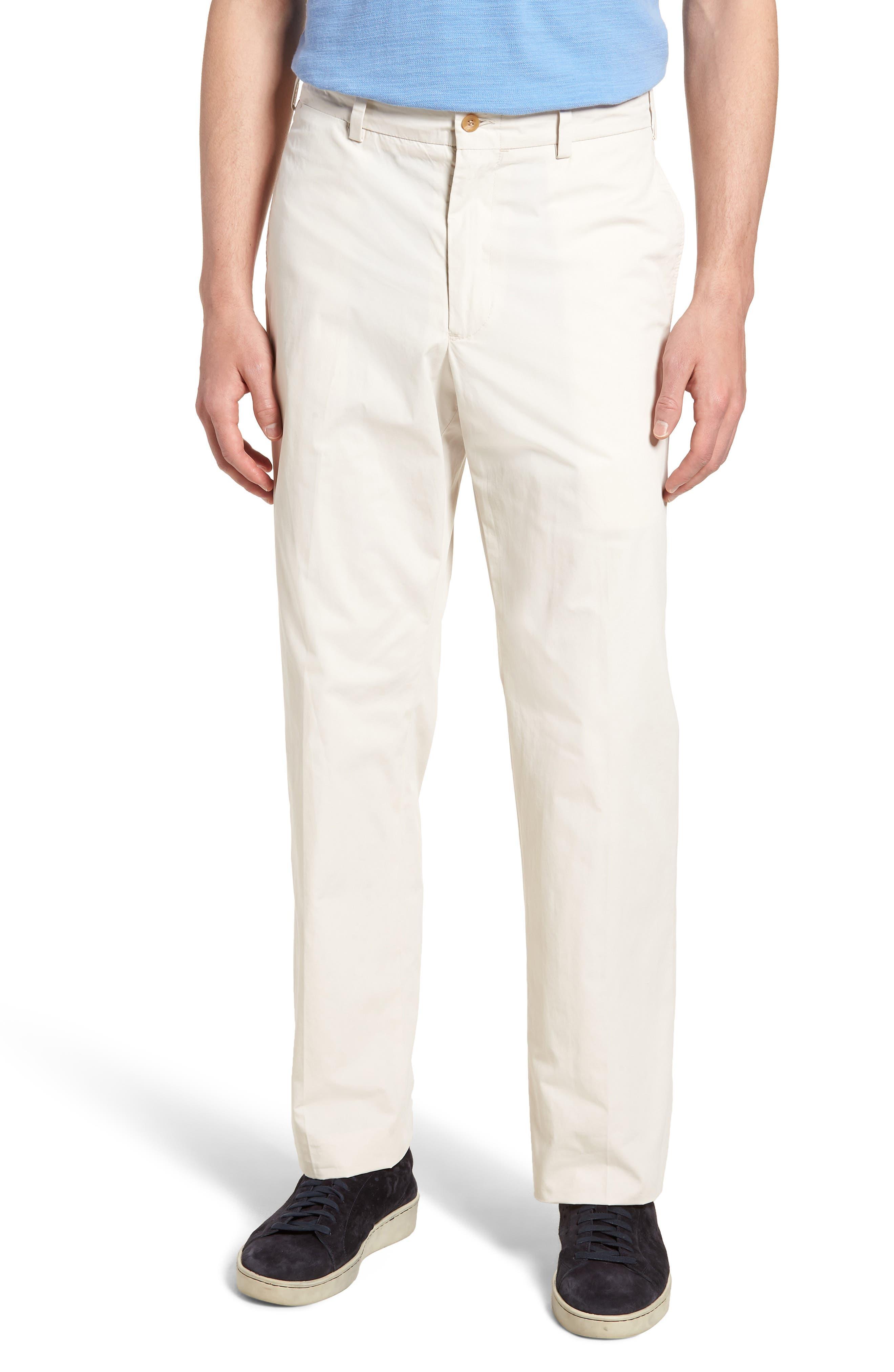 M2 Classic Fit Flat Front Tropical Cotton Poplin Pants,                         Main,                         color, Sand