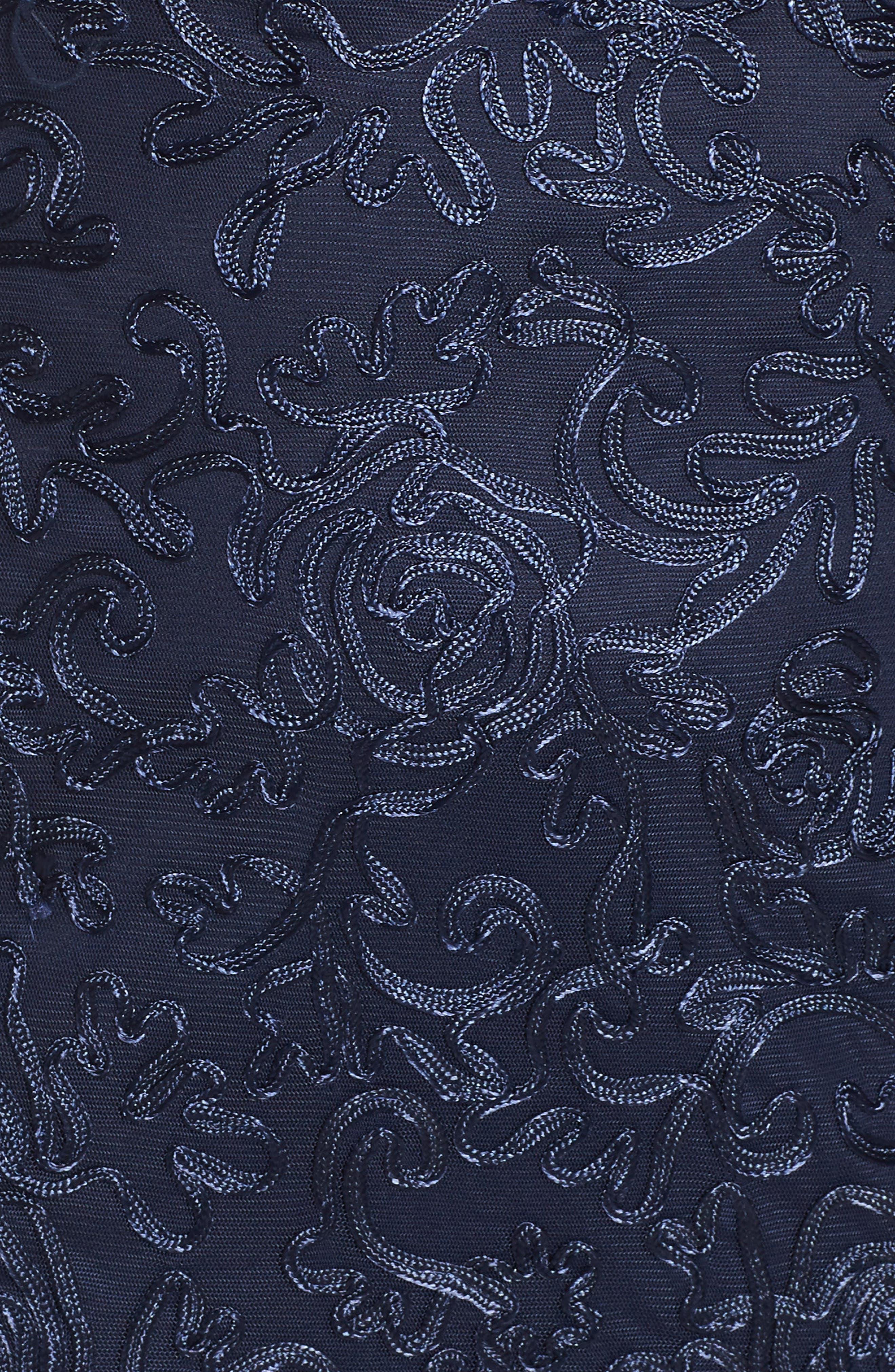 Soutache Fit & Flare Gown,                             Alternate thumbnail 5, color,                             Navy