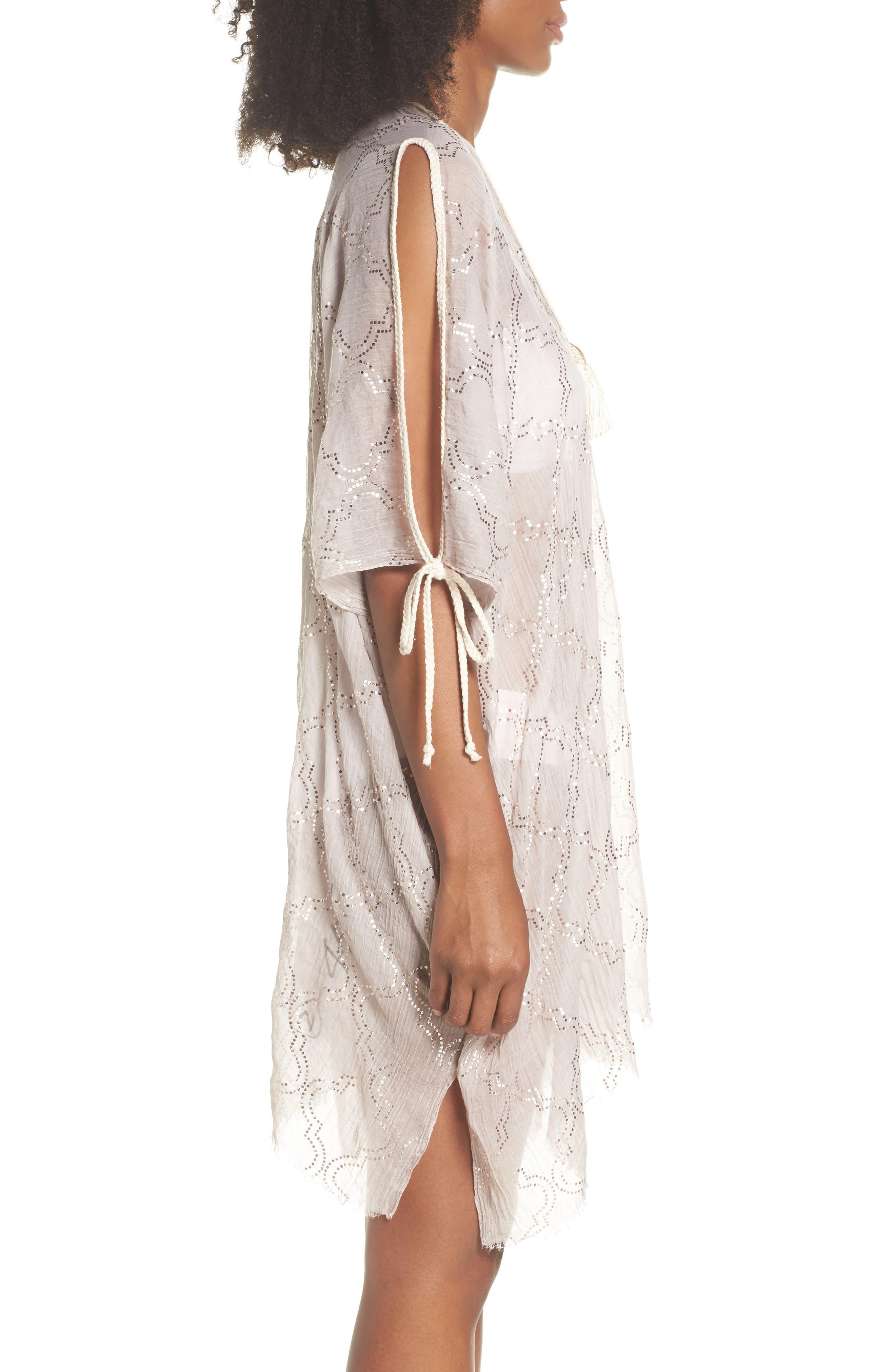 Cold Shoulder Cover-Up Dress,                             Alternate thumbnail 3, color,                             Sand