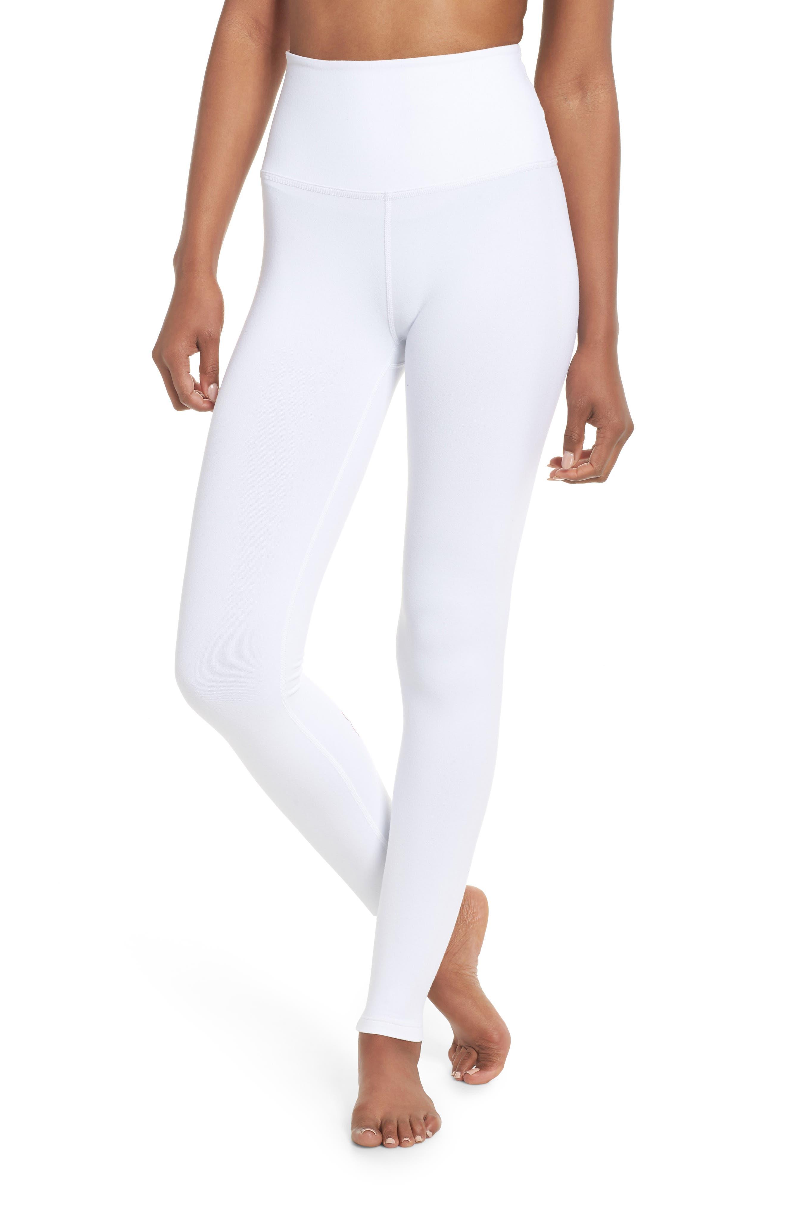 High Waist Leggings,                         Main,                         color, White