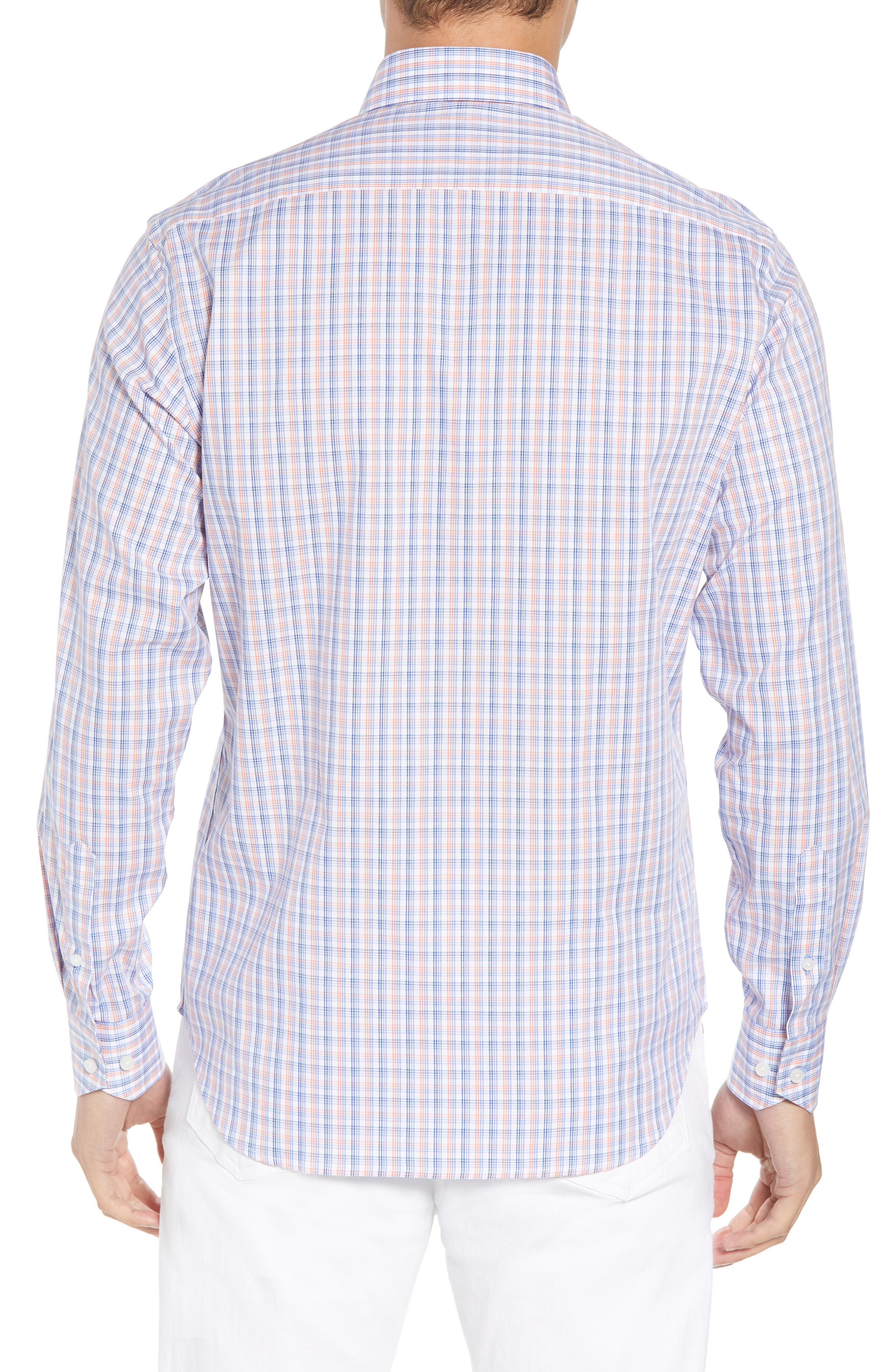 Javion Regular Fit Check Sport Shirt,                             Alternate thumbnail 3, color,                             Orange