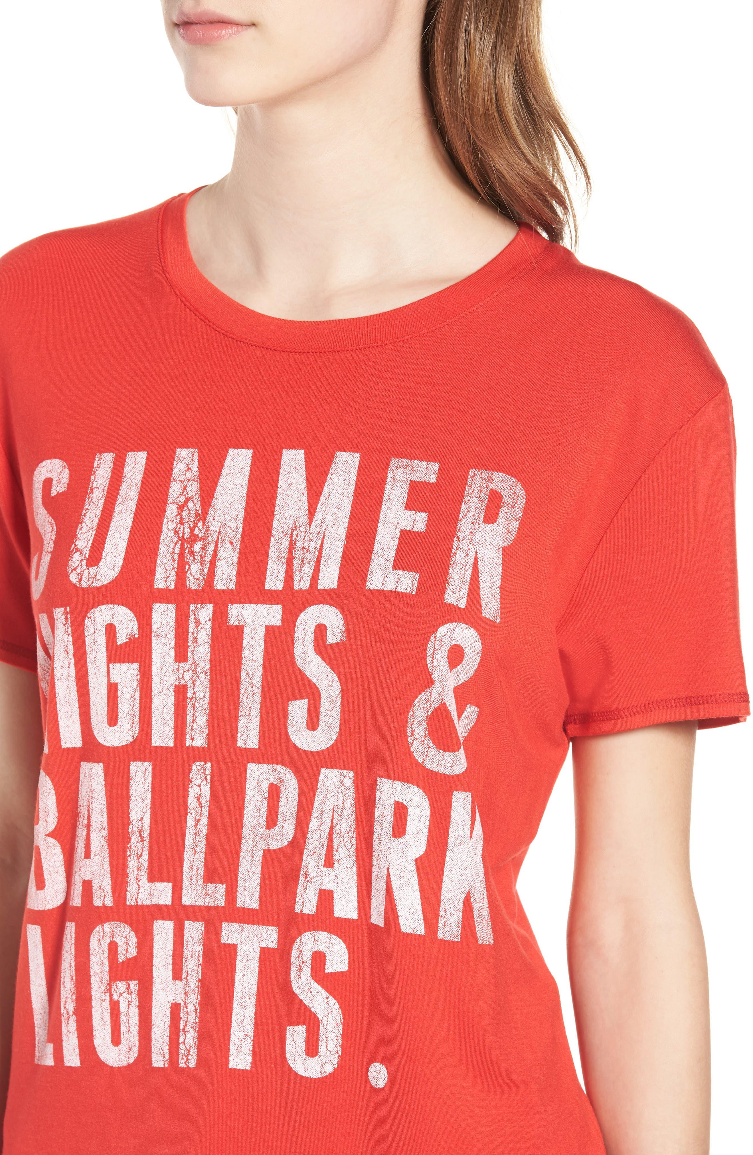 Summer Nights & Ballpark Lights Tee,                             Alternate thumbnail 4, color,                             Red