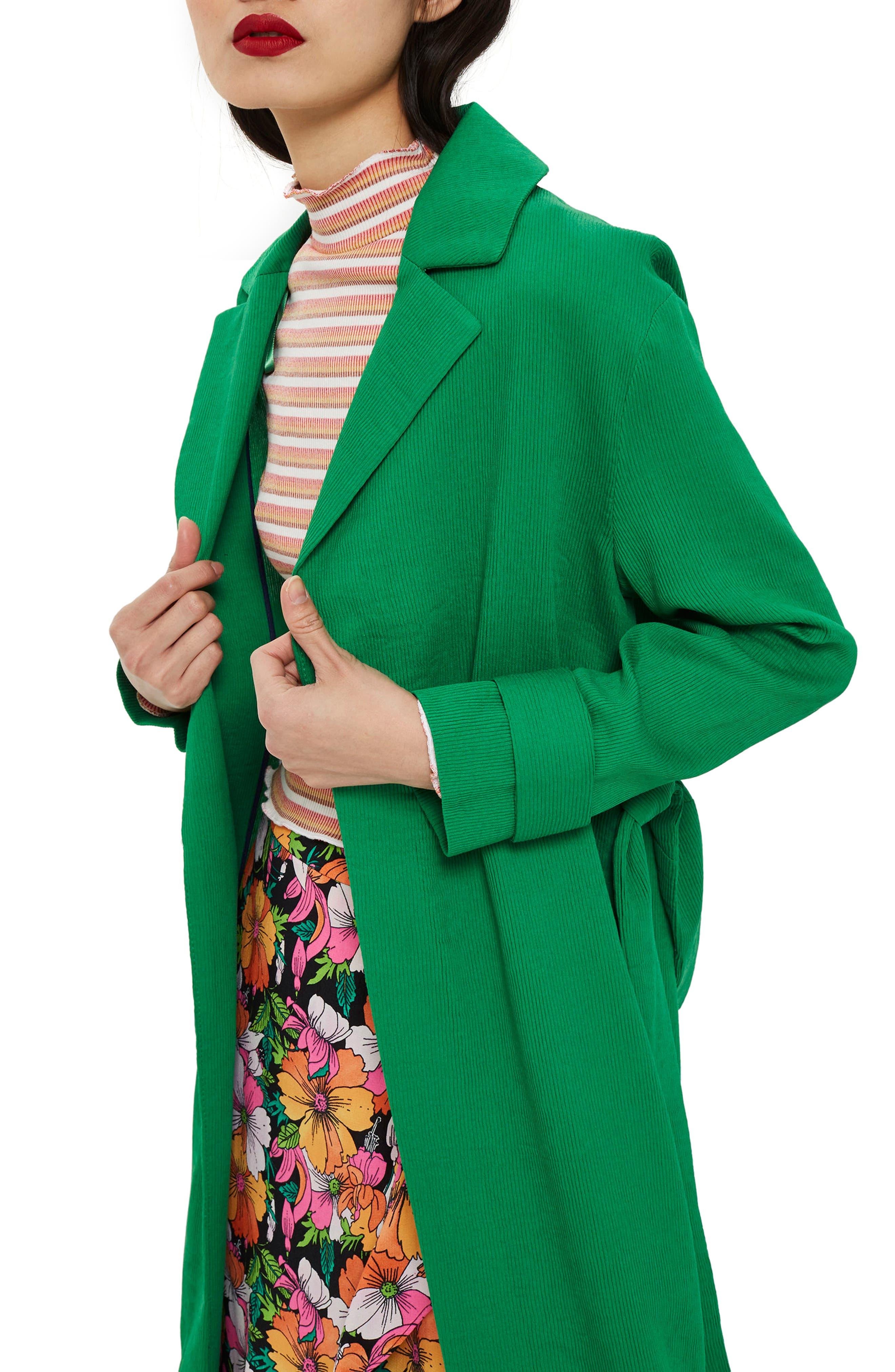 Plissé Belted Duster Coat,                             Alternate thumbnail 4, color,                             Green