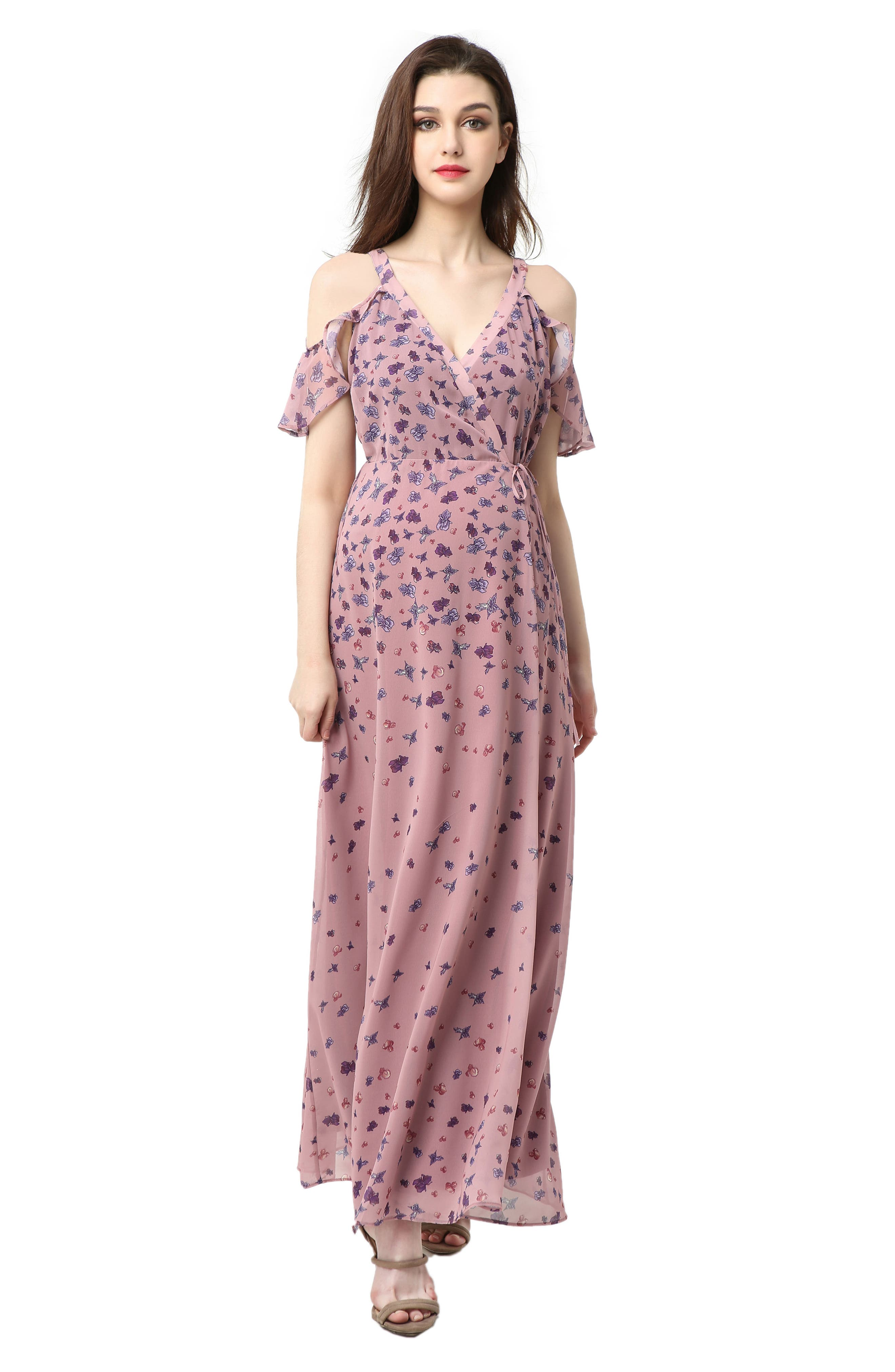 Catalina Cold Shoulder Wrap Maxi Maternity Dress,                             Alternate thumbnail 4, color,                             Rose Pink