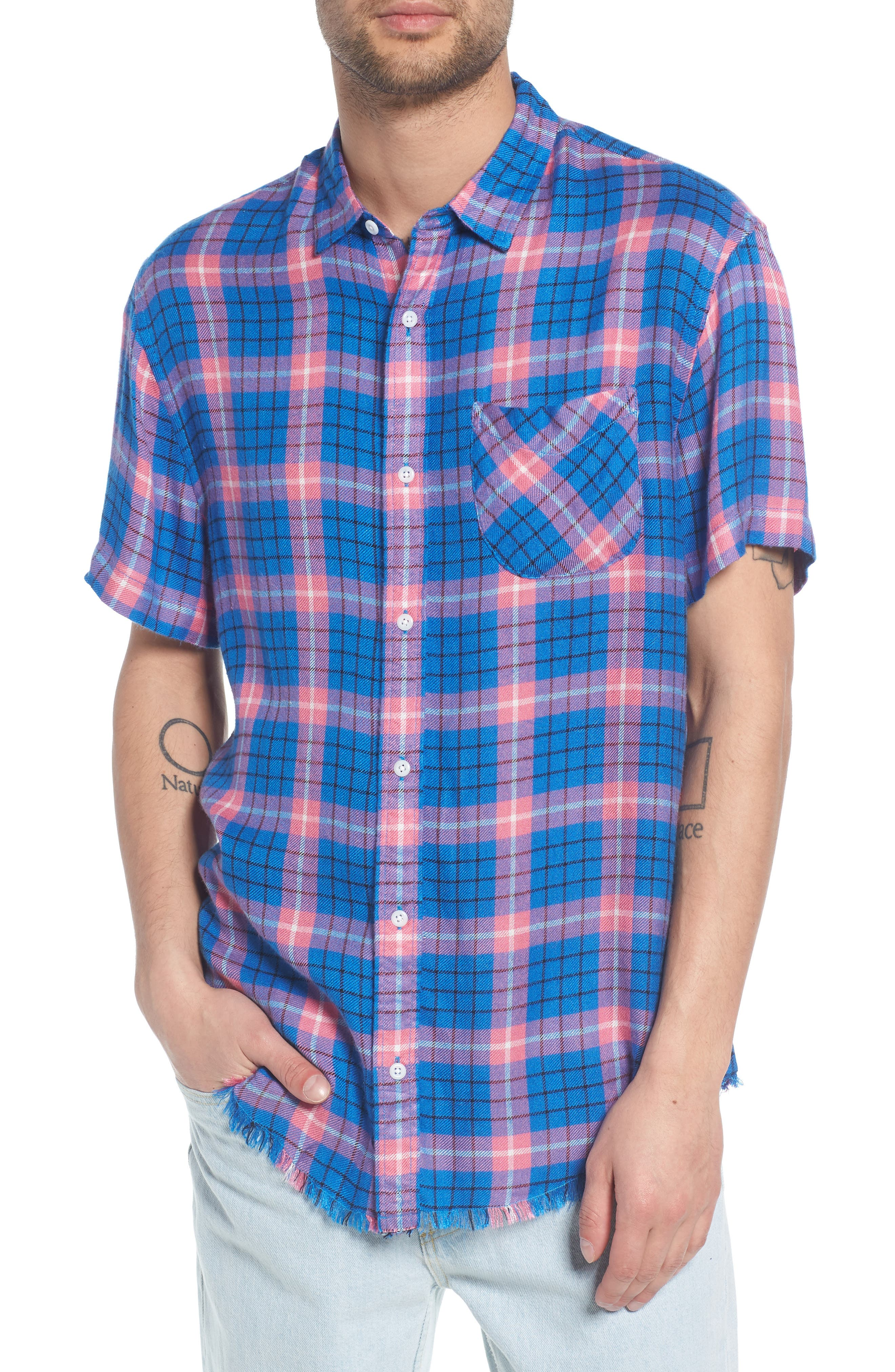 Flannel Woven Shirt,                         Main,                         color, Blue Camp Pink Beck Plaid