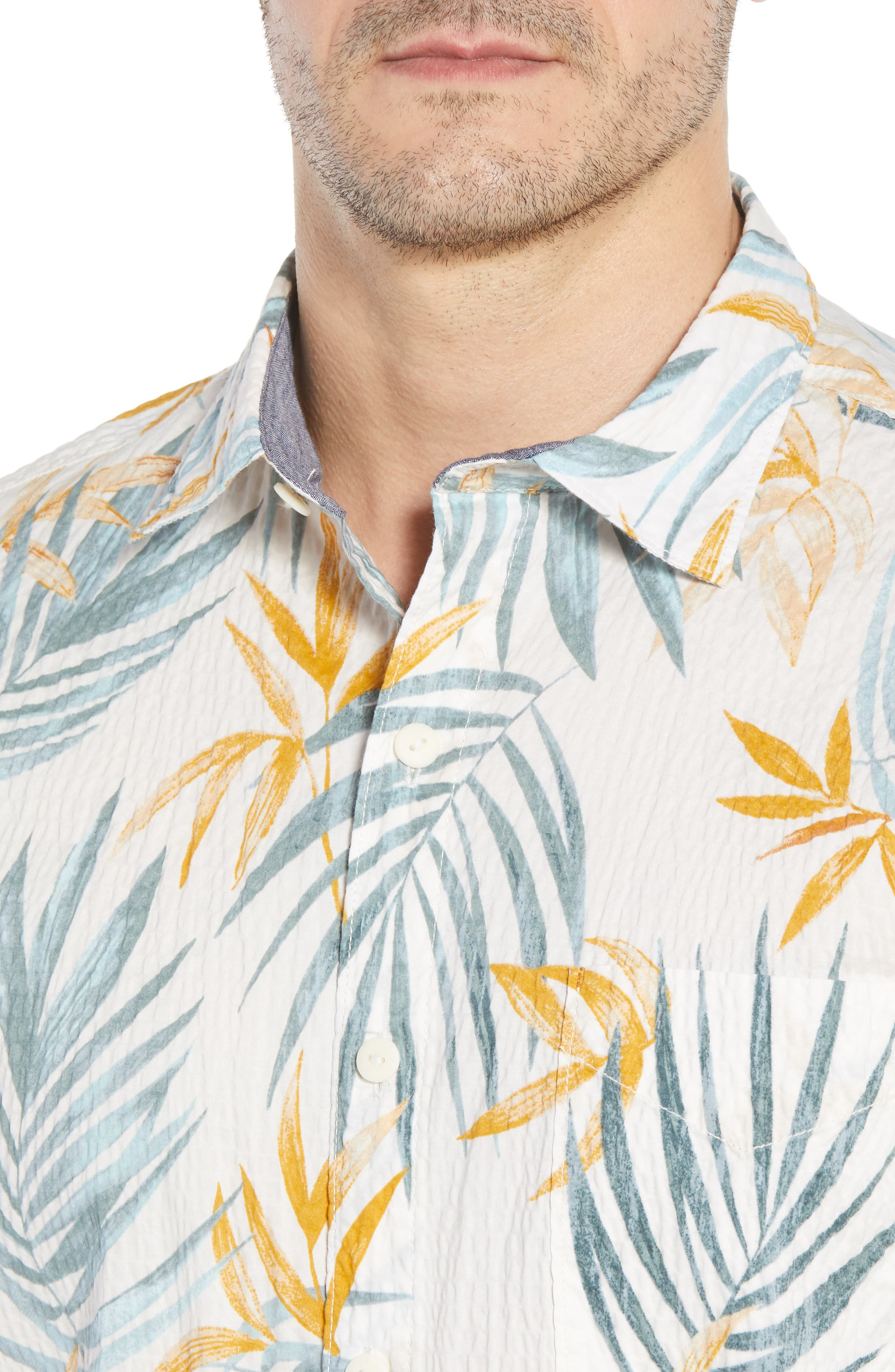 Fiesta Fronds Seersucker Sport Shirt,                             Alternate thumbnail 2, color,                             Coconut Cream
