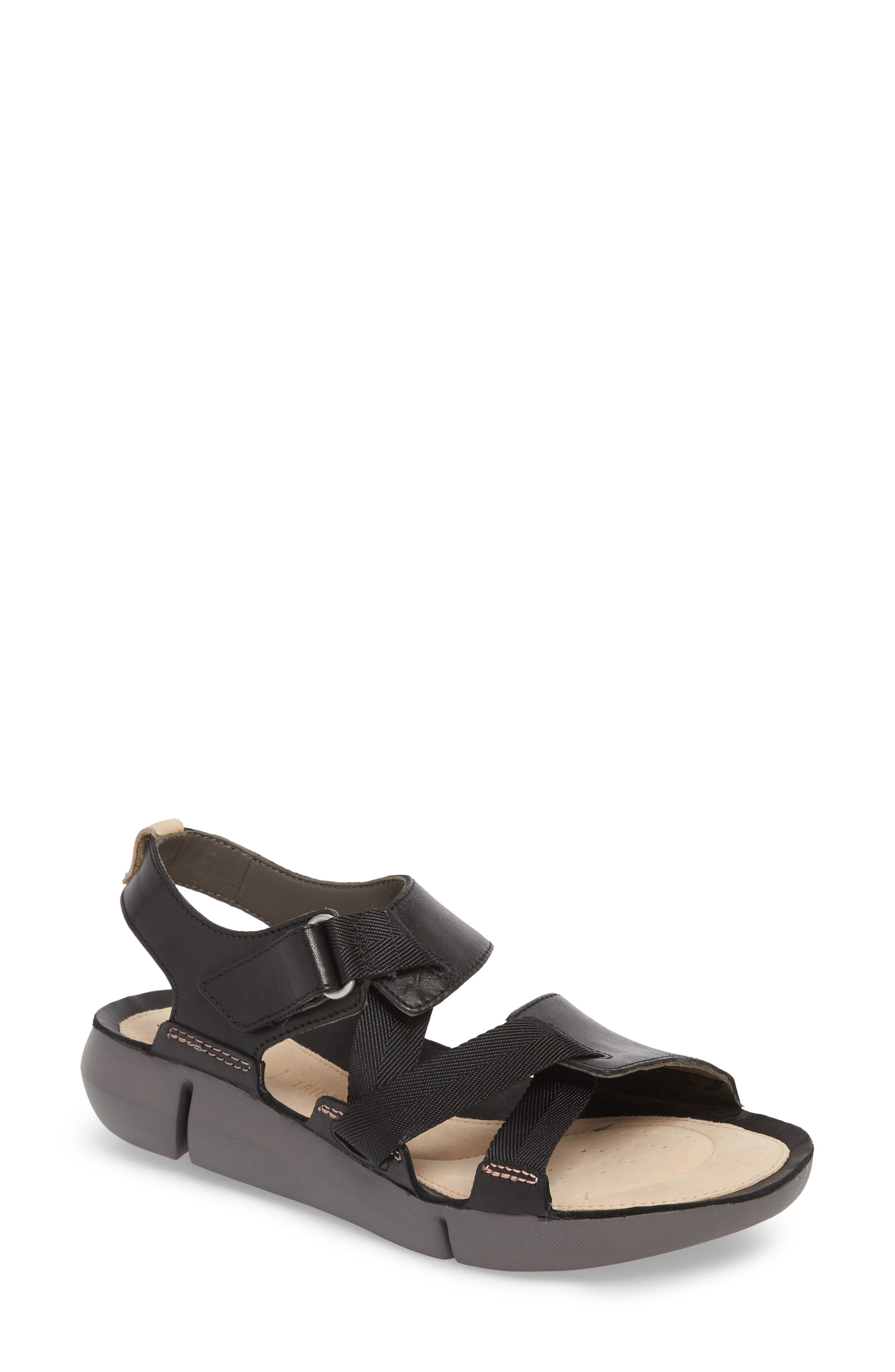 Tri Clover Sandal,                         Main,                         color, Black Leather