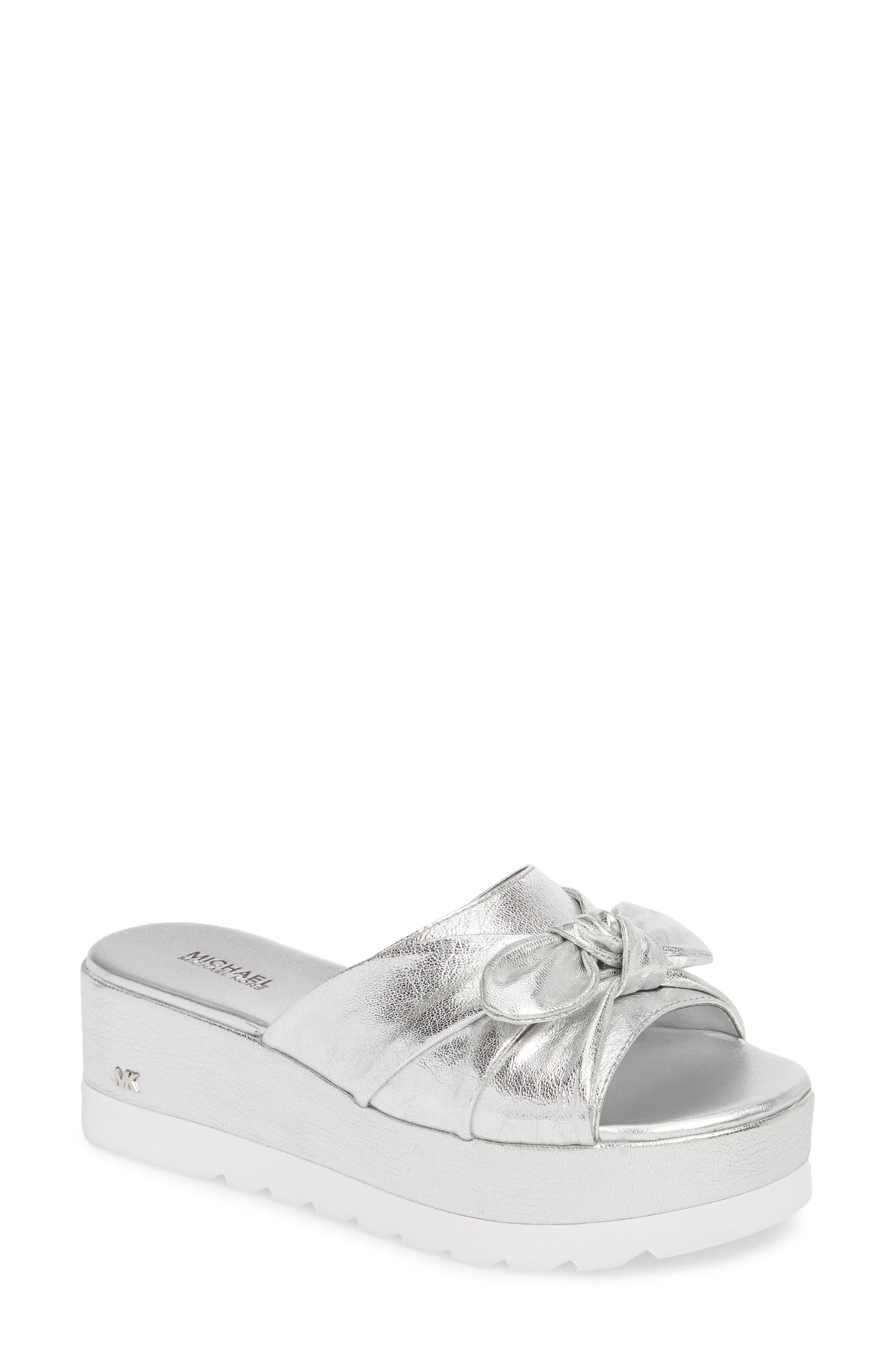 Pippa Platform Slide Sandal,                             Main thumbnail 1, color,                             Silver