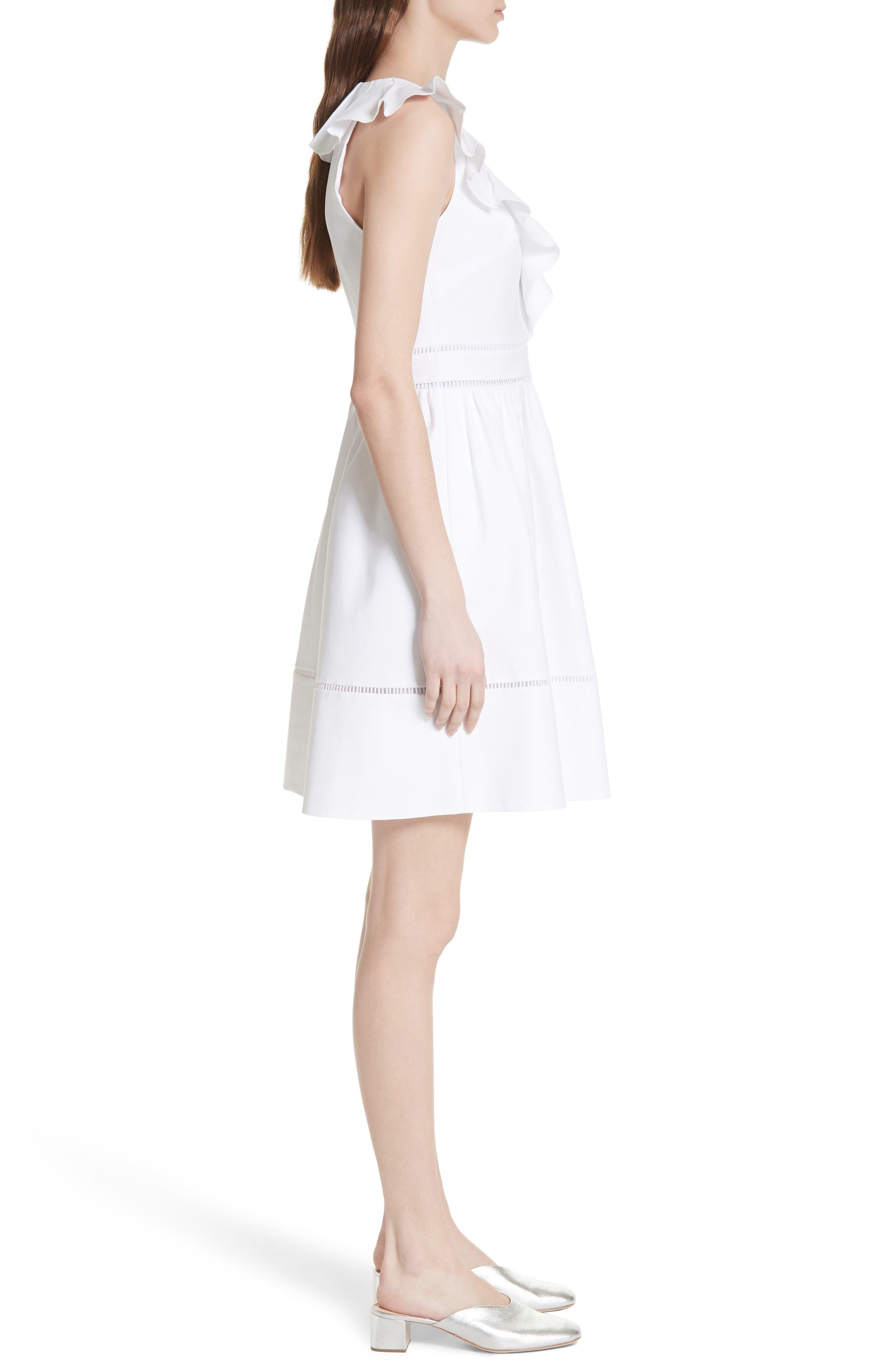 sleeveless ruffle neck stretch cotton dress,                             Alternate thumbnail 3, color,                             Fresh White