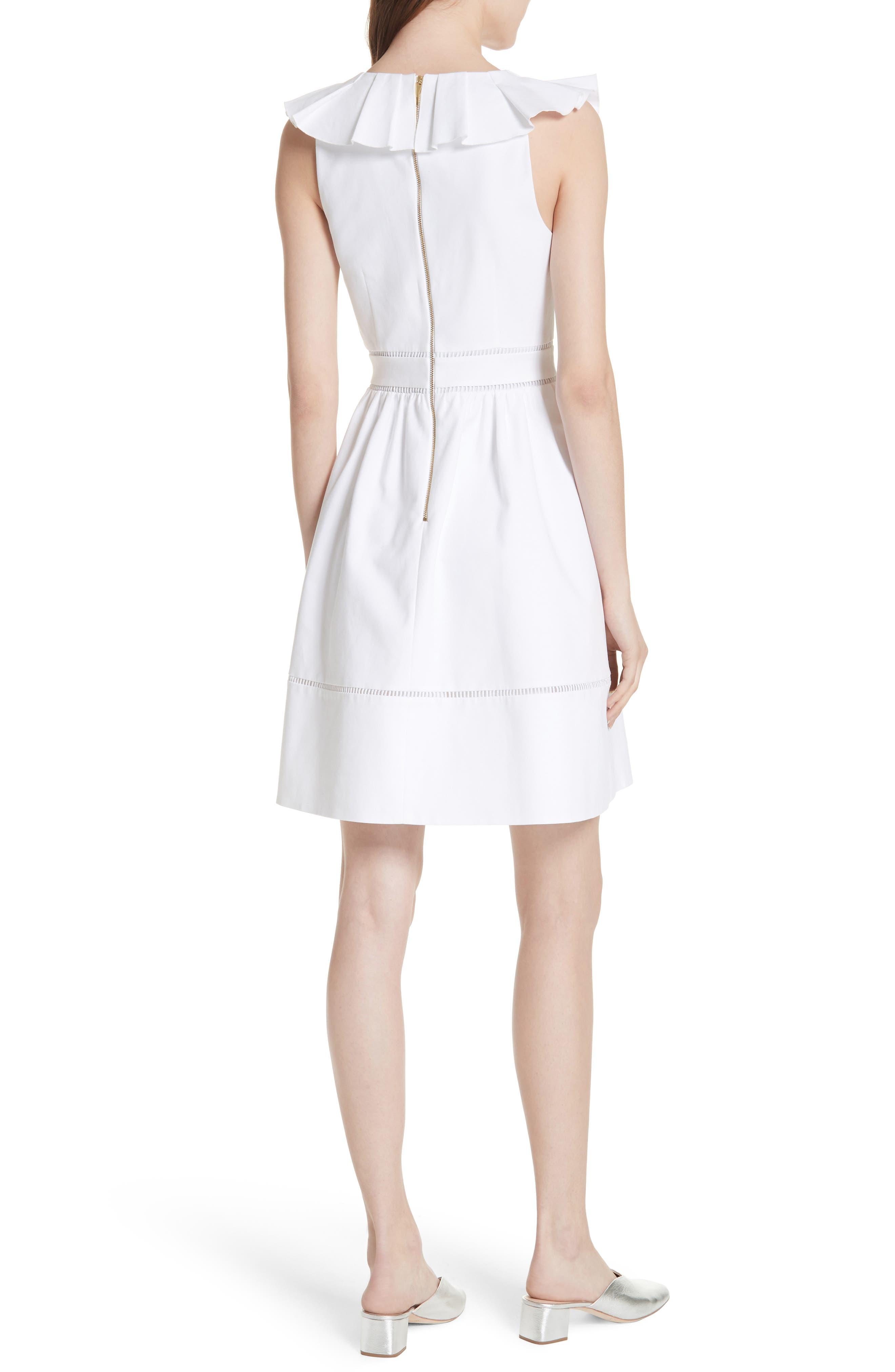 sleeveless ruffle neck stretch cotton dress,                             Alternate thumbnail 2, color,                             Fresh White
