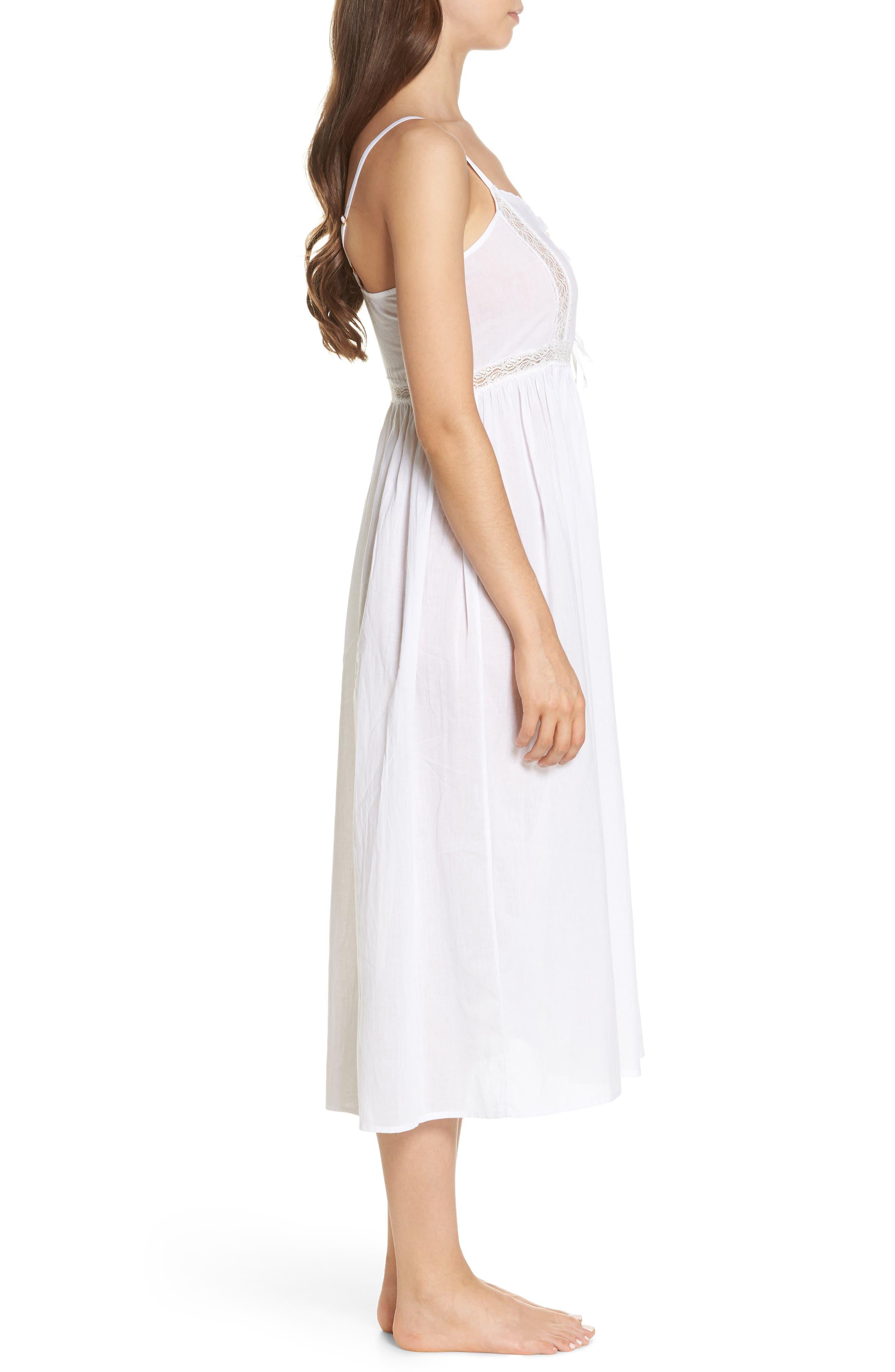 Lace Trim Nightgown,                             Alternate thumbnail 3, color,                             White