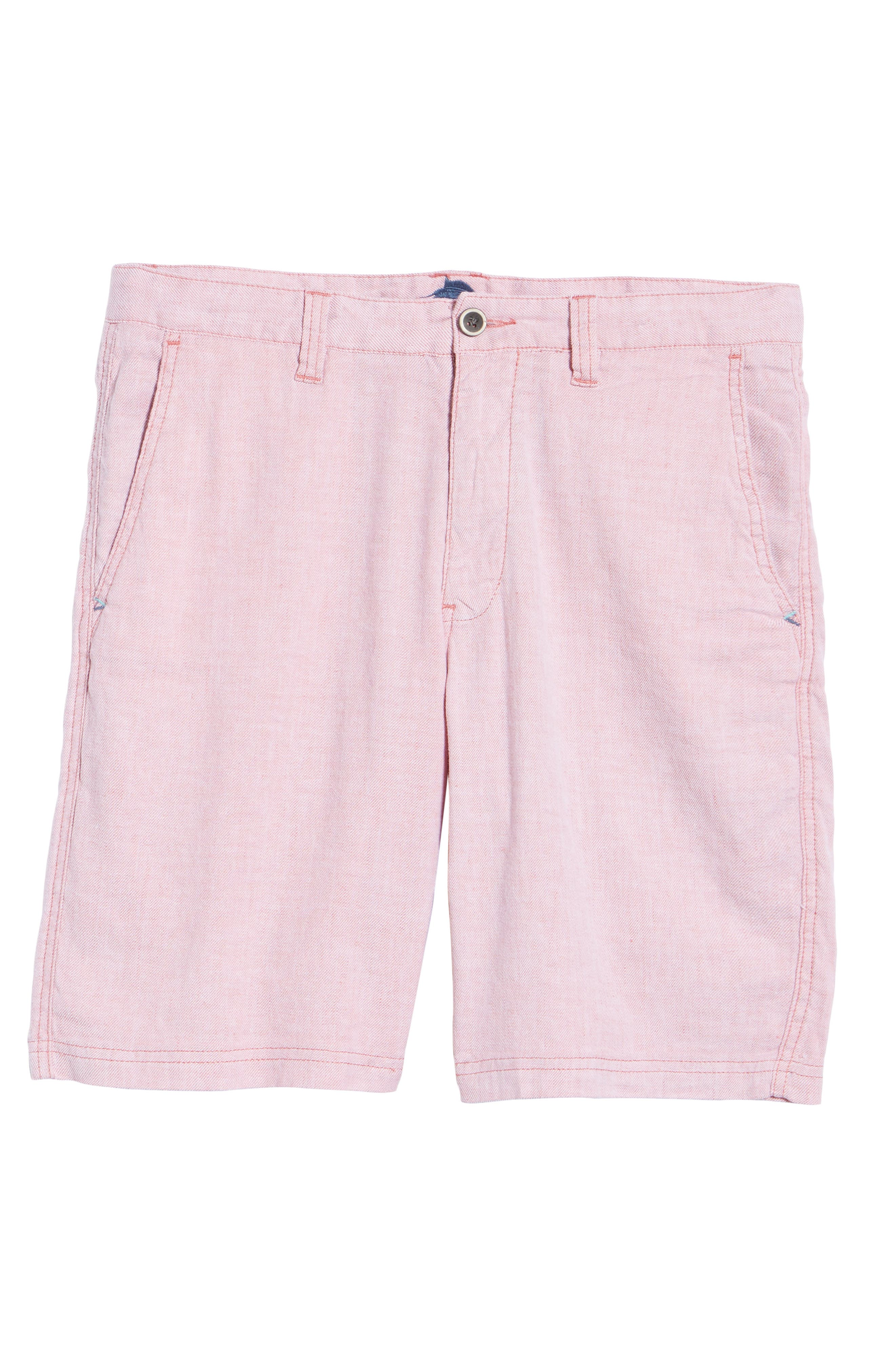 Beach Linen Blend Shorts,                             Alternate thumbnail 6, color,                             Red Sunset