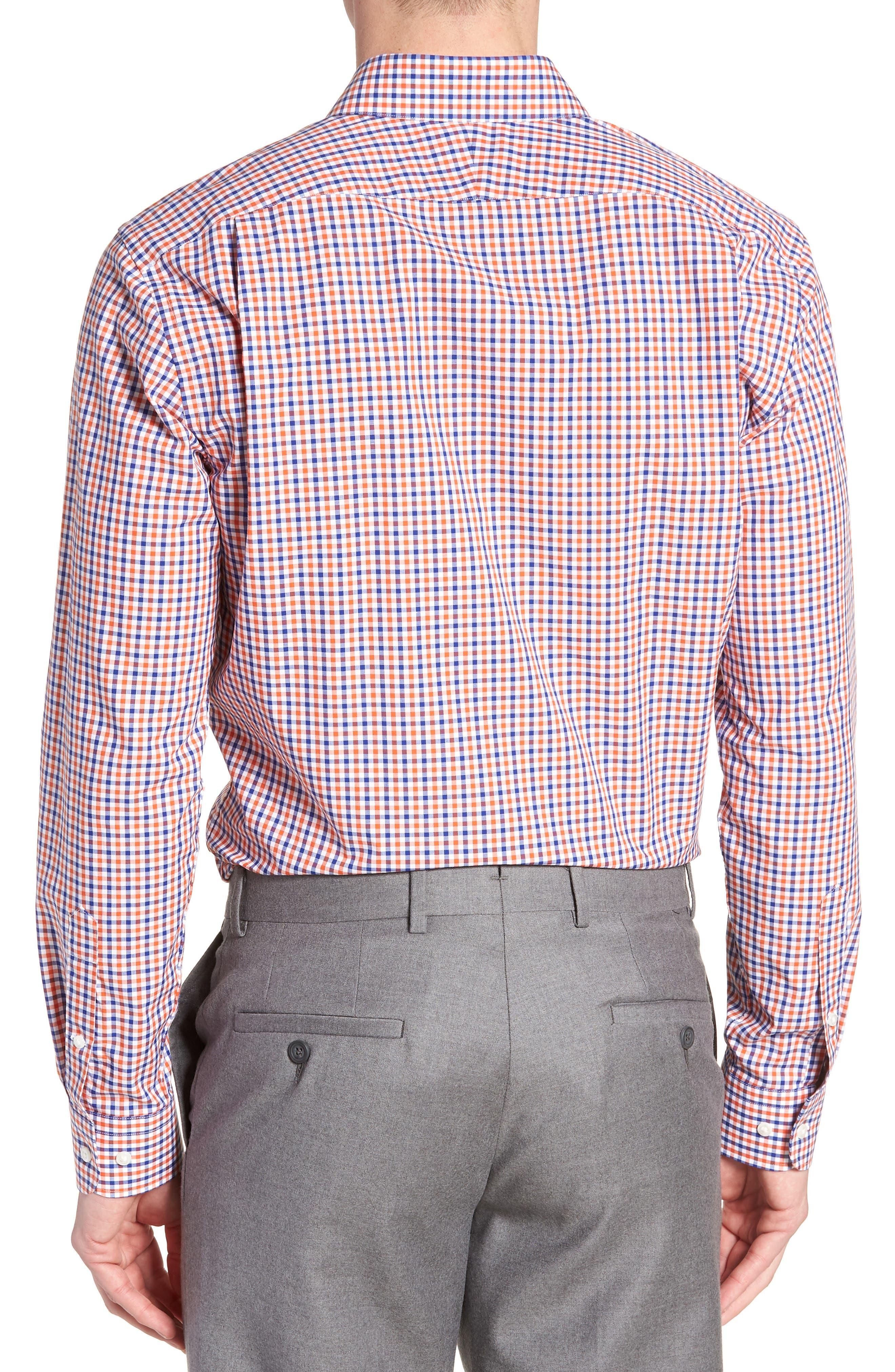 Trim Fit Check Dress Shirt,                             Alternate thumbnail 3, color,                             Orange Rust