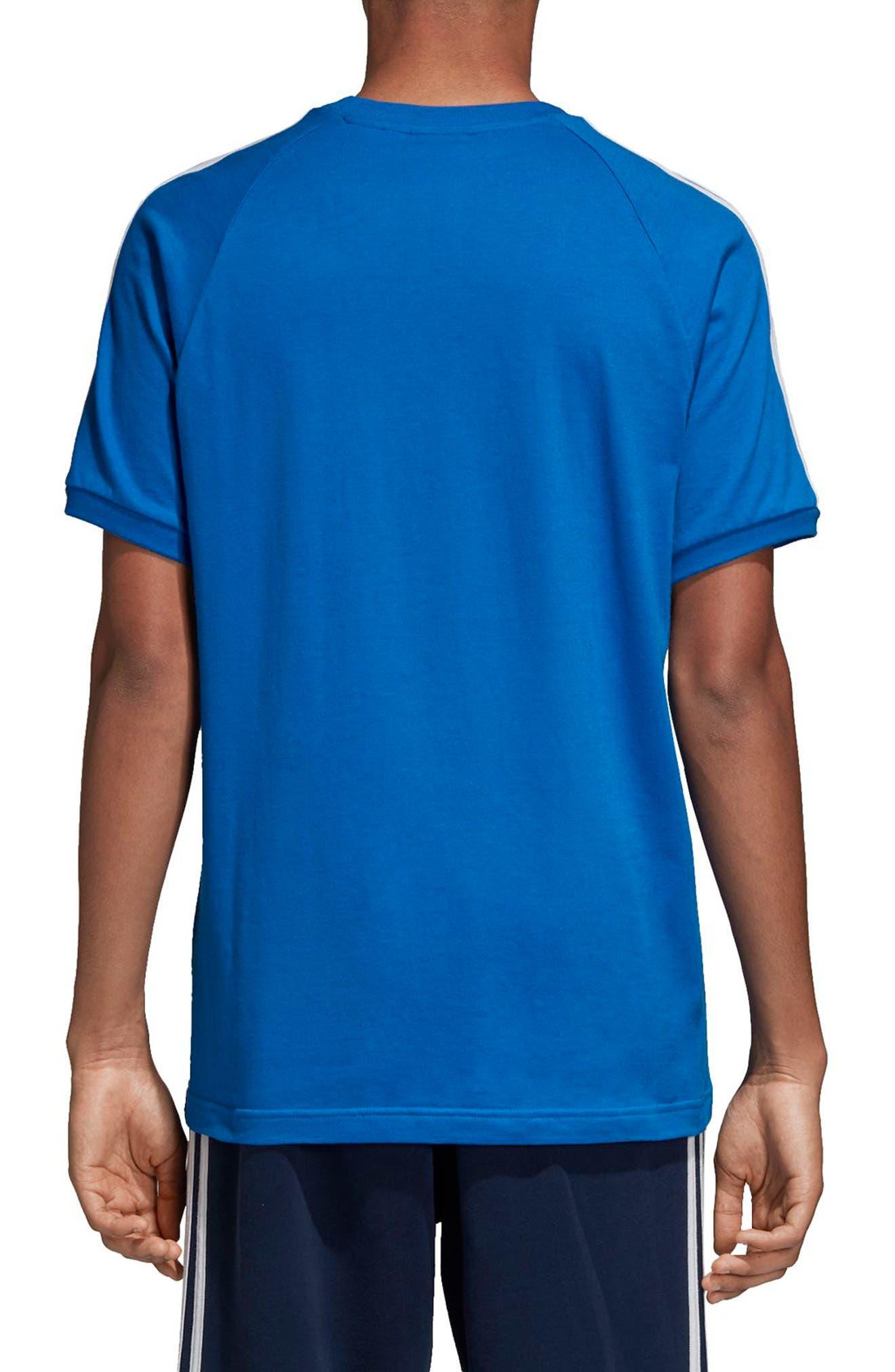 adidas 3-Stripes T-Shirt,                             Alternate thumbnail 2, color,                             Bluebird