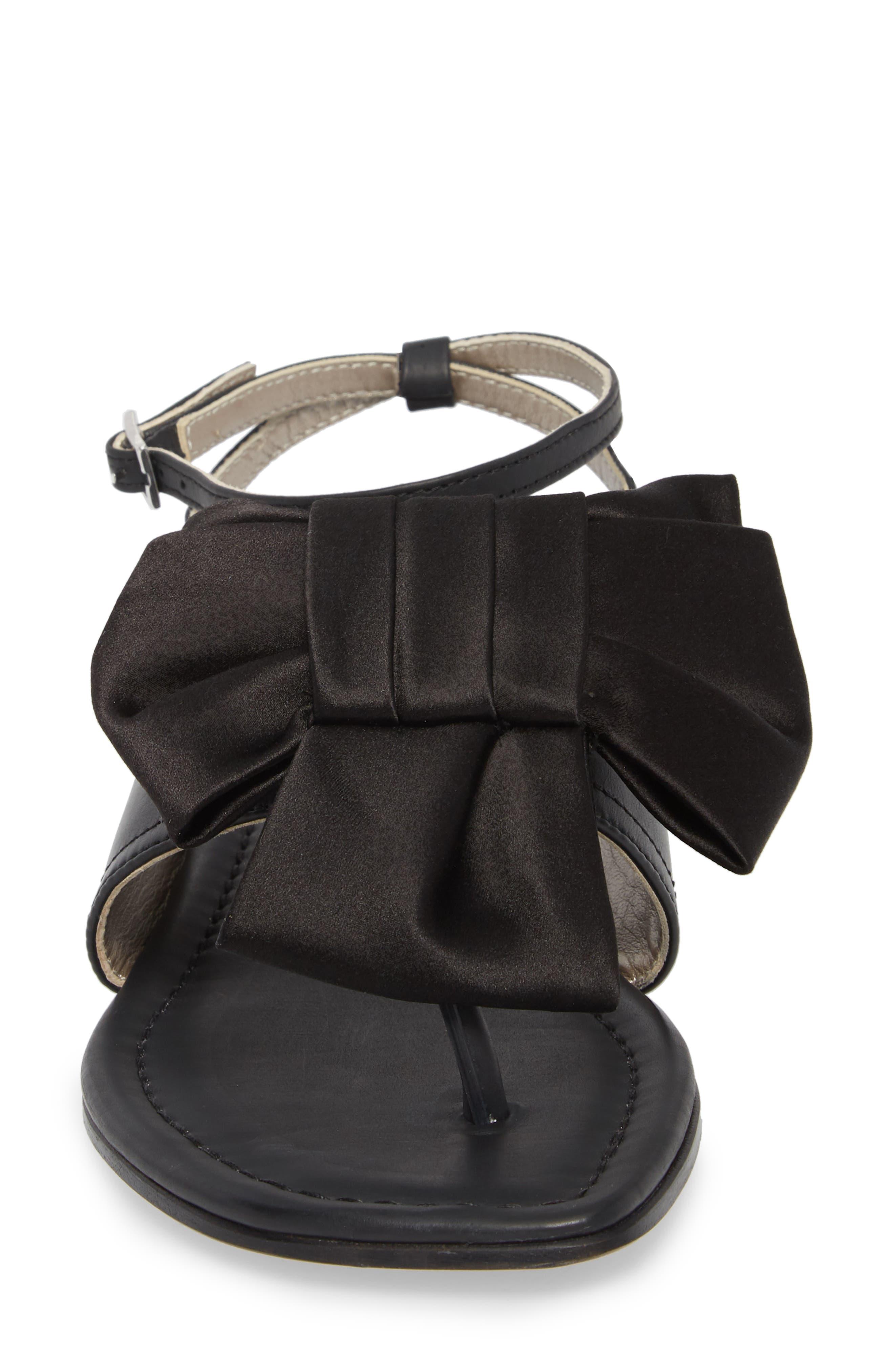 Ankle Strap Sandal,                             Alternate thumbnail 4, color,                             Black Leather