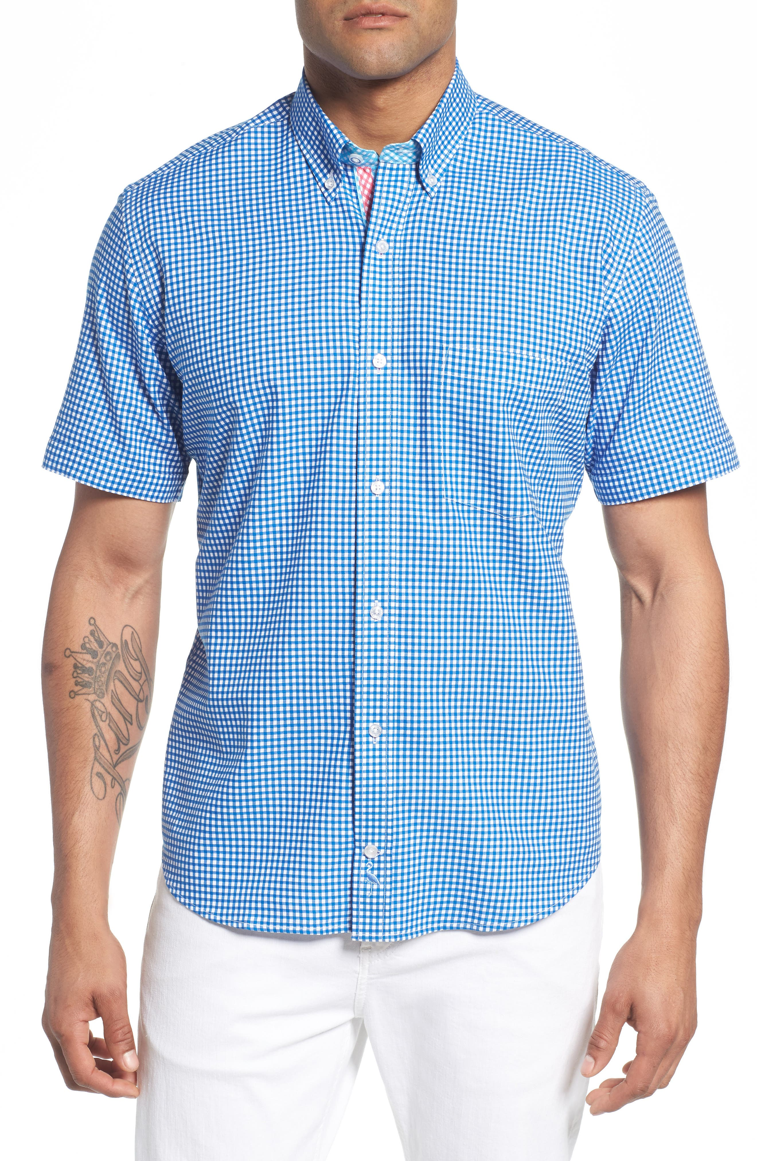 Main Image - TailorByrd Abel Regular Fit Mini Check Sport Shirt