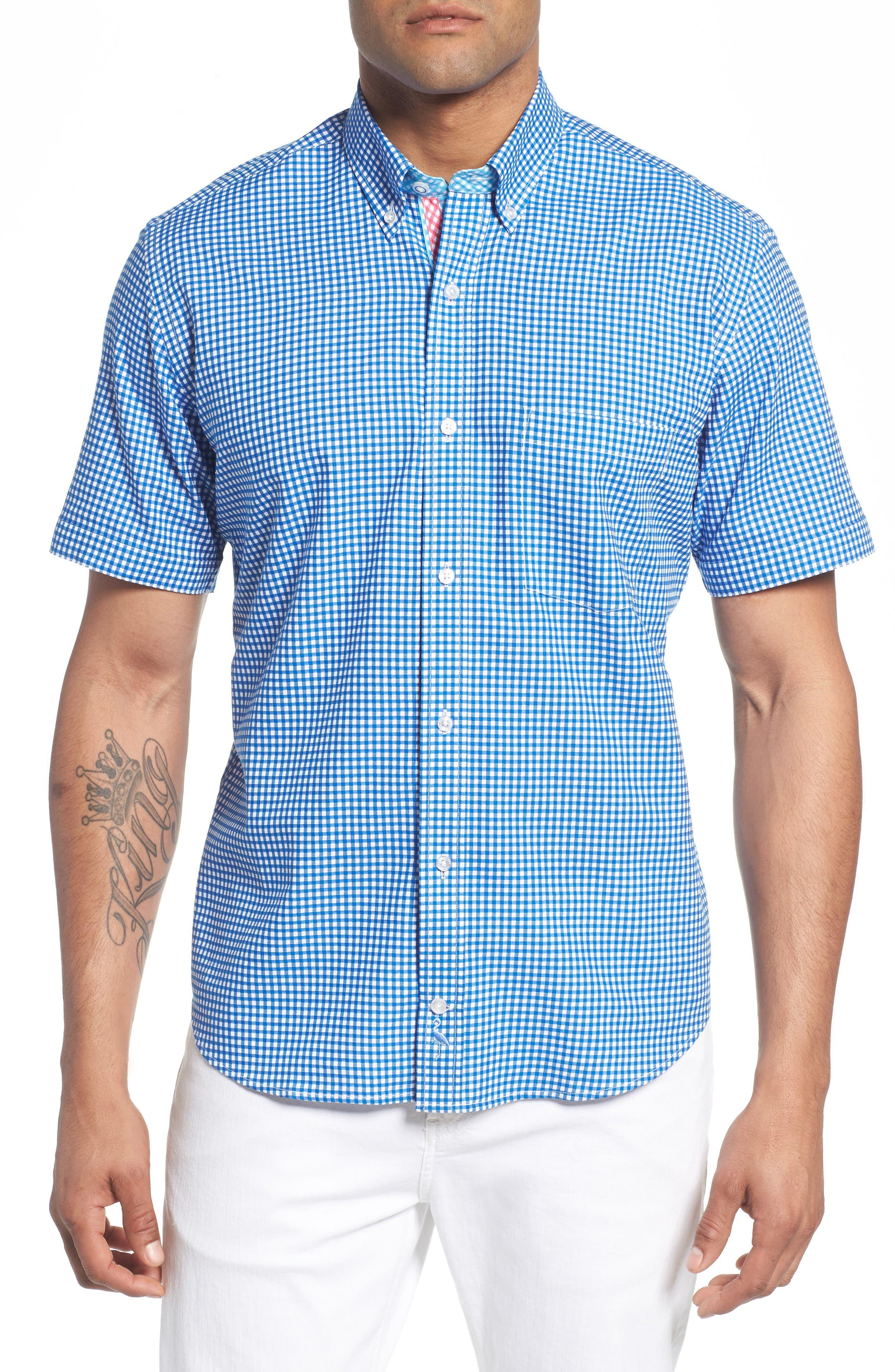 Abel Regular Fit Mini Check Sport Shirt,                         Main,                         color, Royal