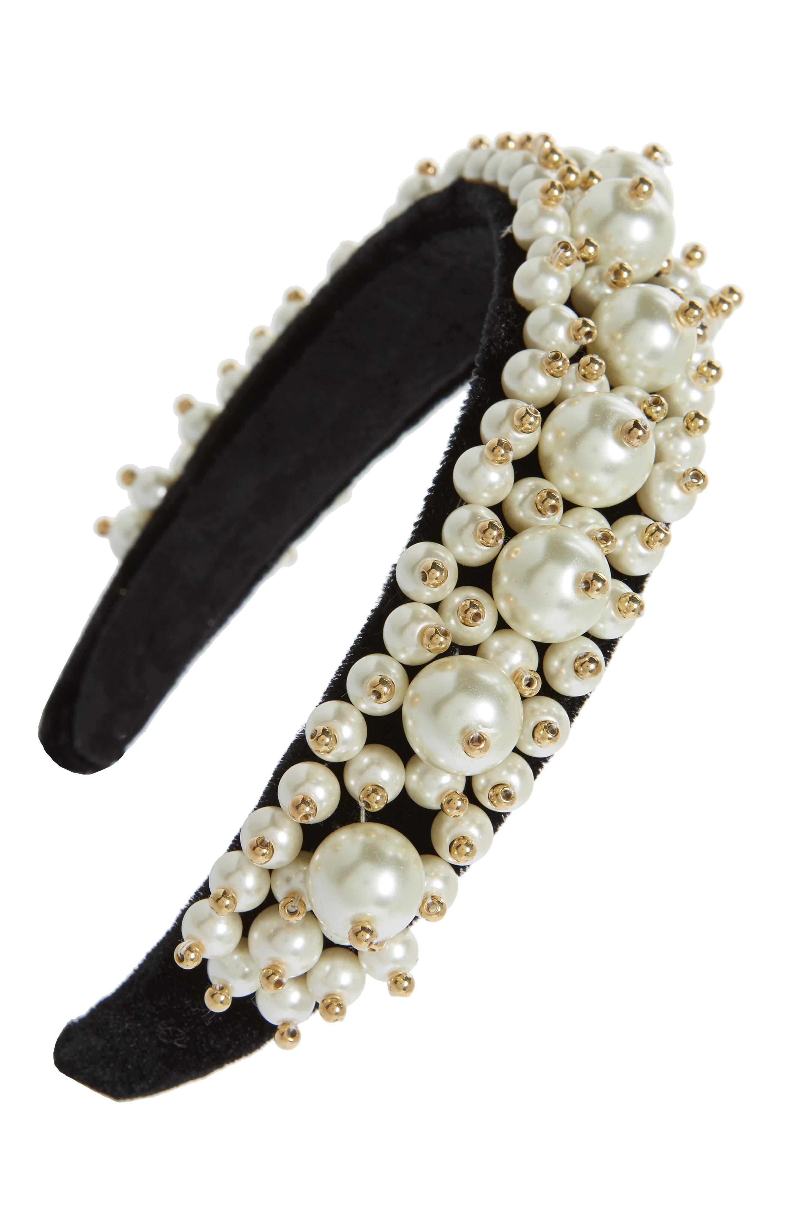 Imitation Pearl Cluster Headband,                         Main,                         color, Black