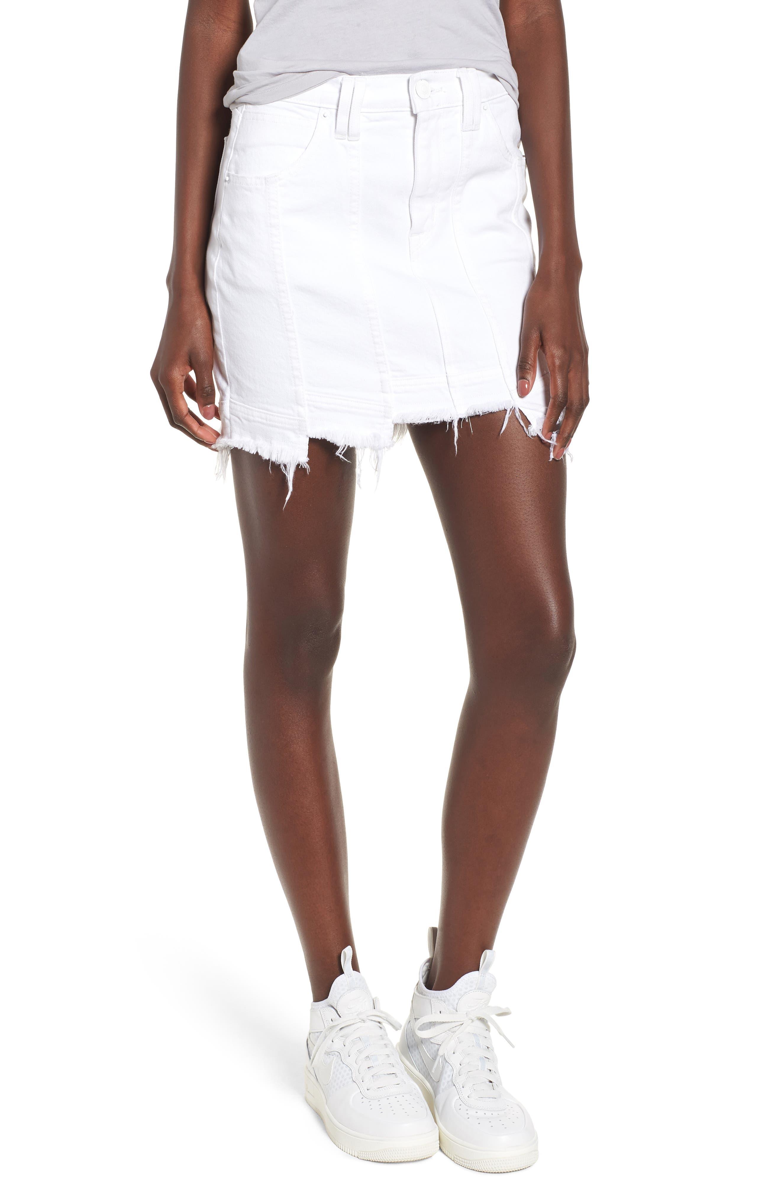 Raw Step Hem Denim Skirt,                         Main,                         color, White