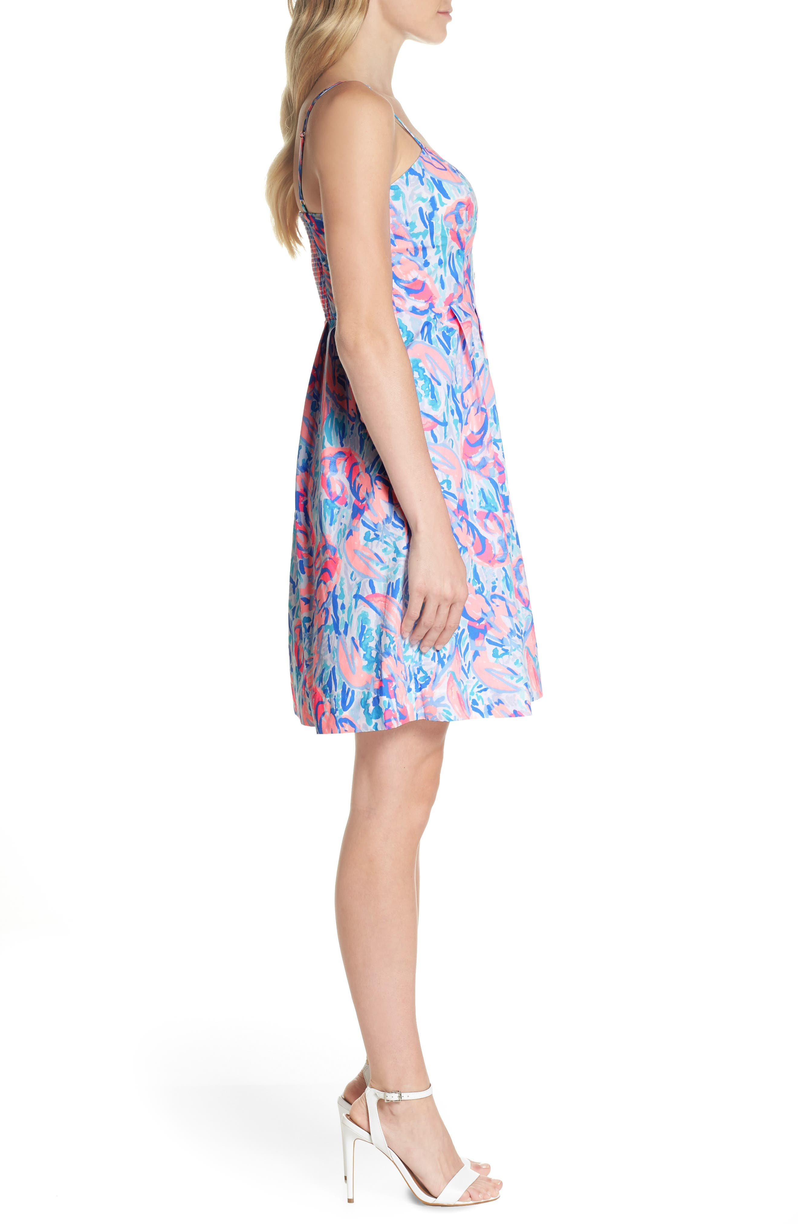 Easton Fit & Flare Dress,                             Alternate thumbnail 3, color,                             Cosmic Coral Cracked Up