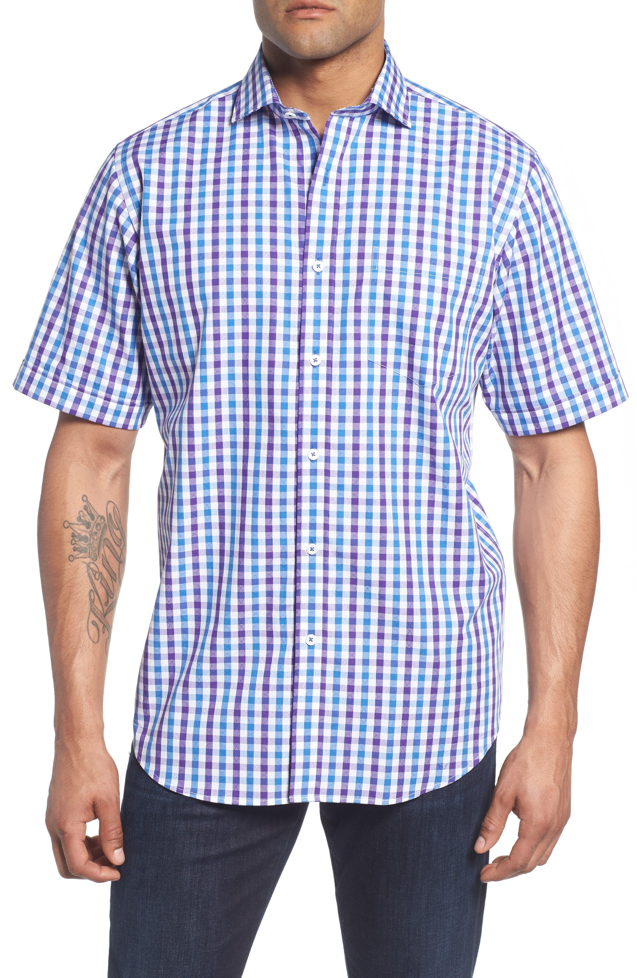 Classic Fit Check Sport Shirt,                         Main,                         color, Plum