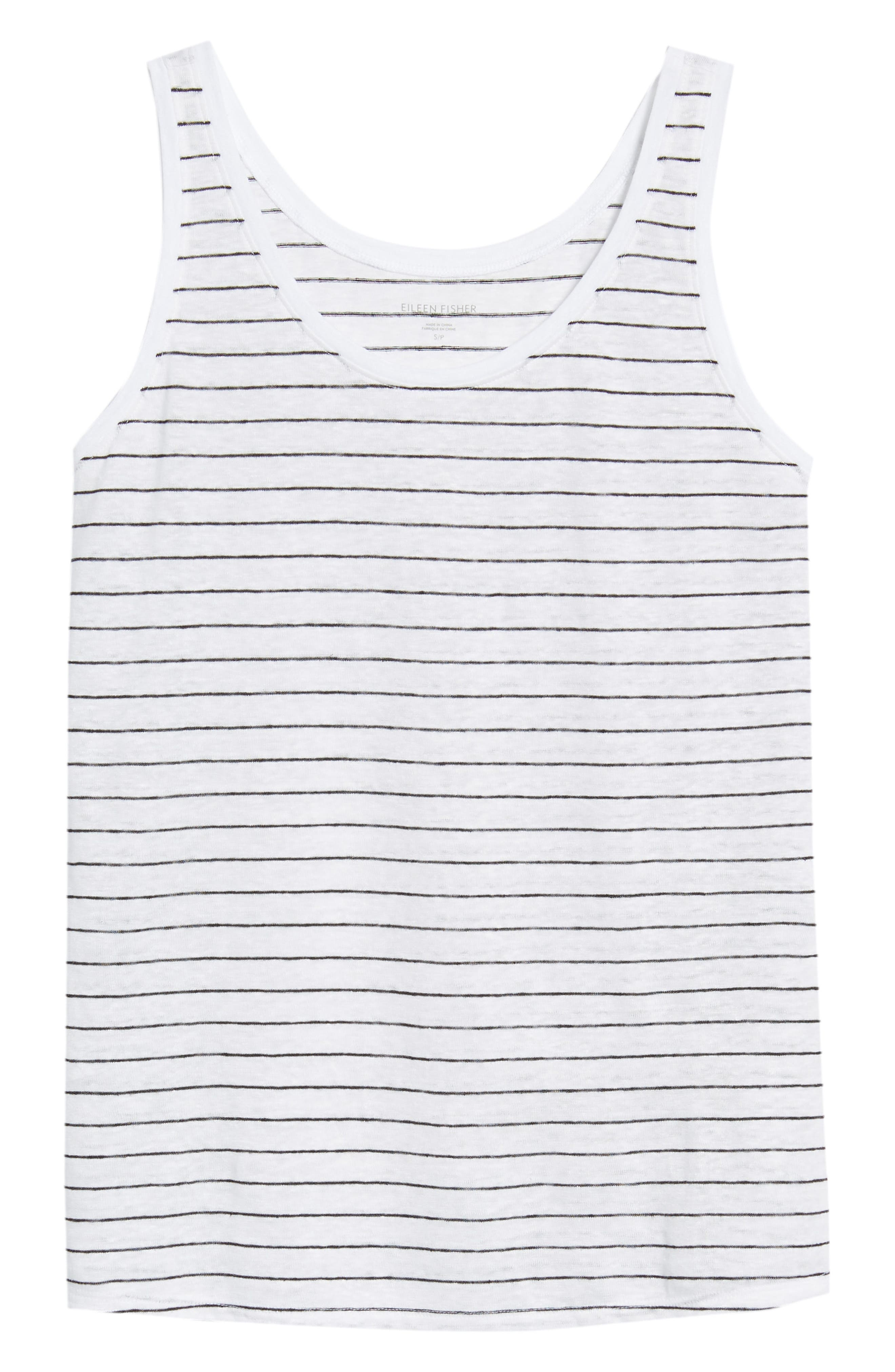 Stripe Linen Tank,                             Alternate thumbnail 6, color,                             White/ Black
